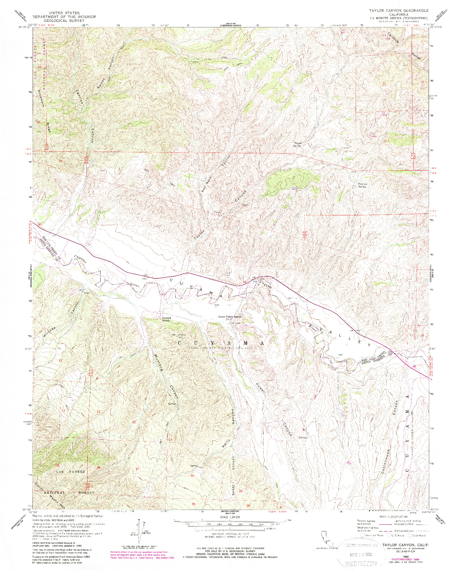USGS 1:24000-SCALE QUADRANGLE FOR TAYLOR CANYON, CA 1959