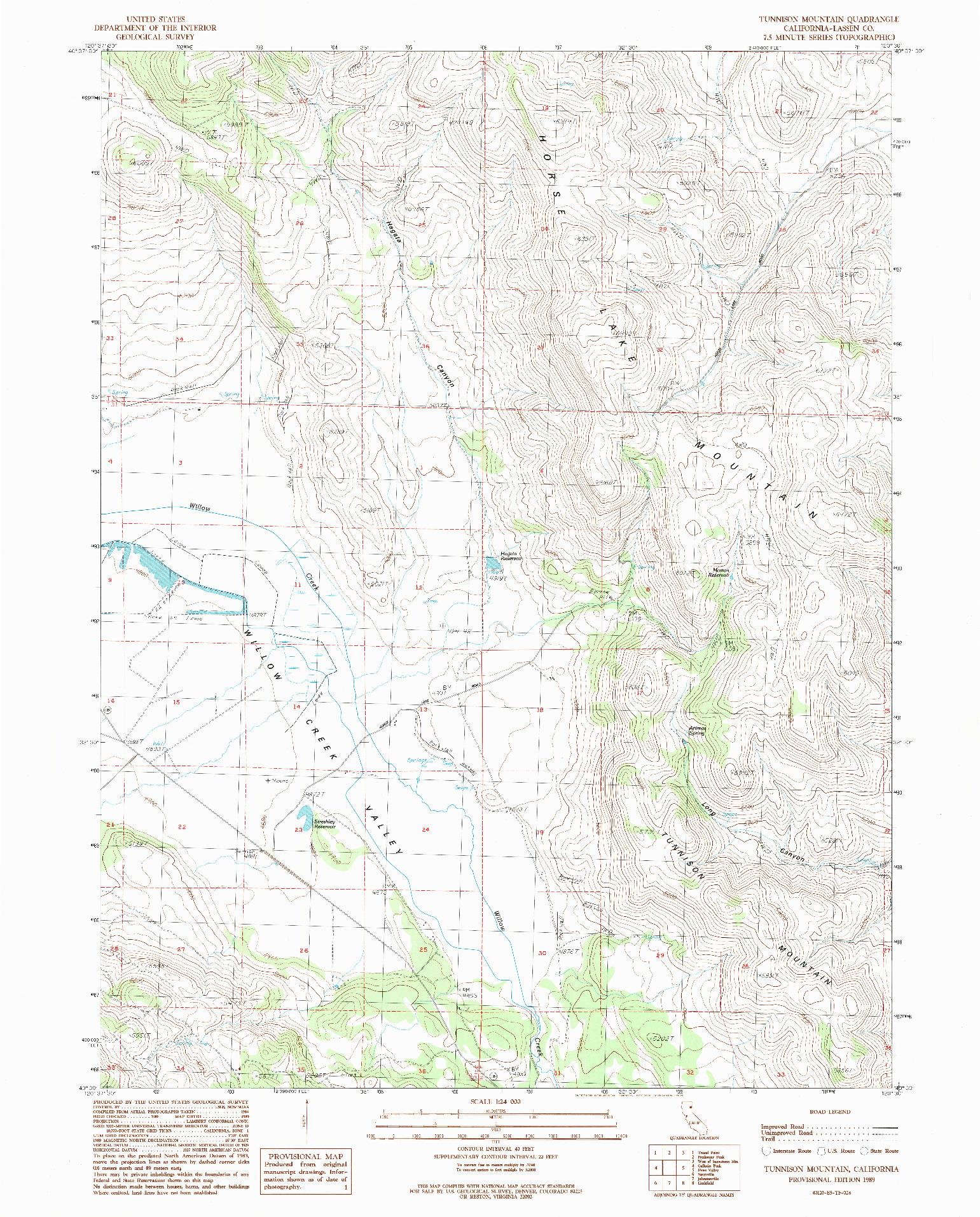 USGS 1:24000-SCALE QUADRANGLE FOR TUNNISON MOUNTAIN, CA 1989