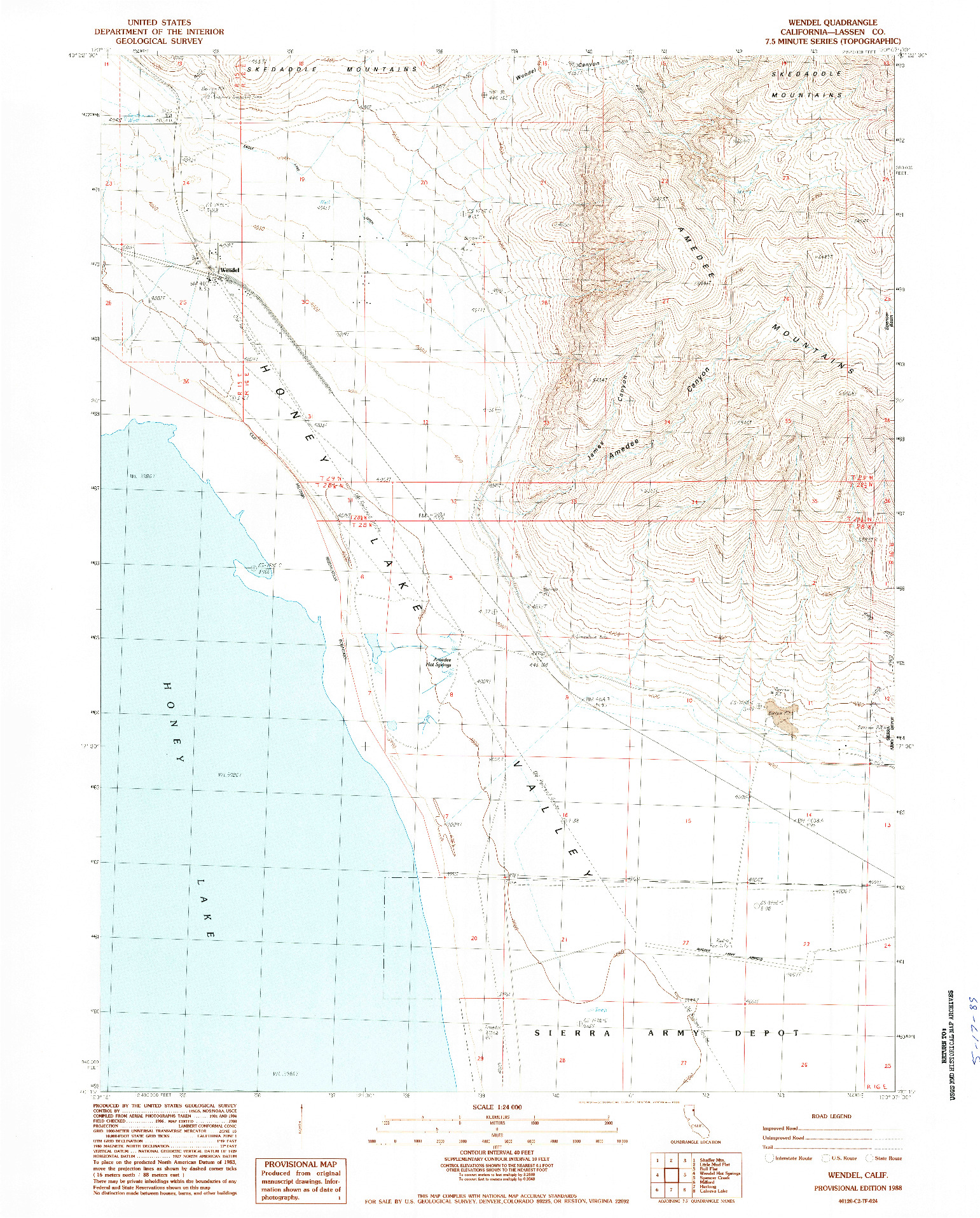 USGS 1:24000-SCALE QUADRANGLE FOR WENDEL, CA 1988