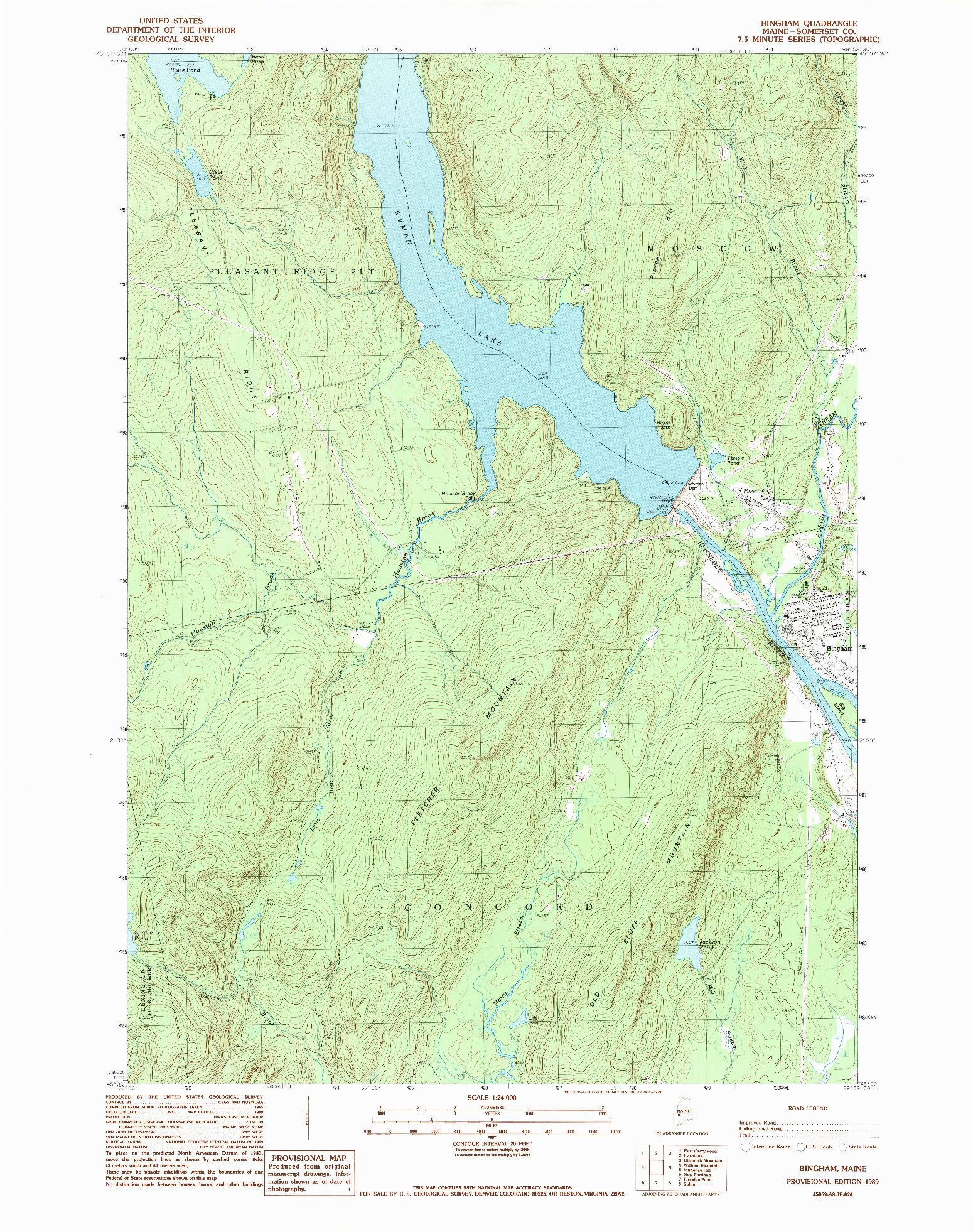 USGS 1:24000-SCALE QUADRANGLE FOR BINGHAM, ME 1989