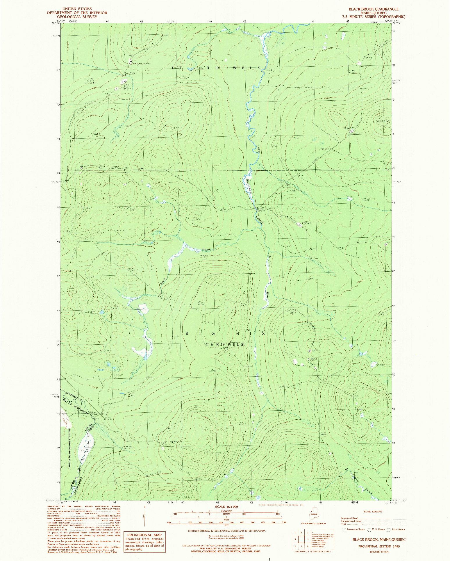 USGS 1:24000-SCALE QUADRANGLE FOR BLACK BROOK, ME 1989