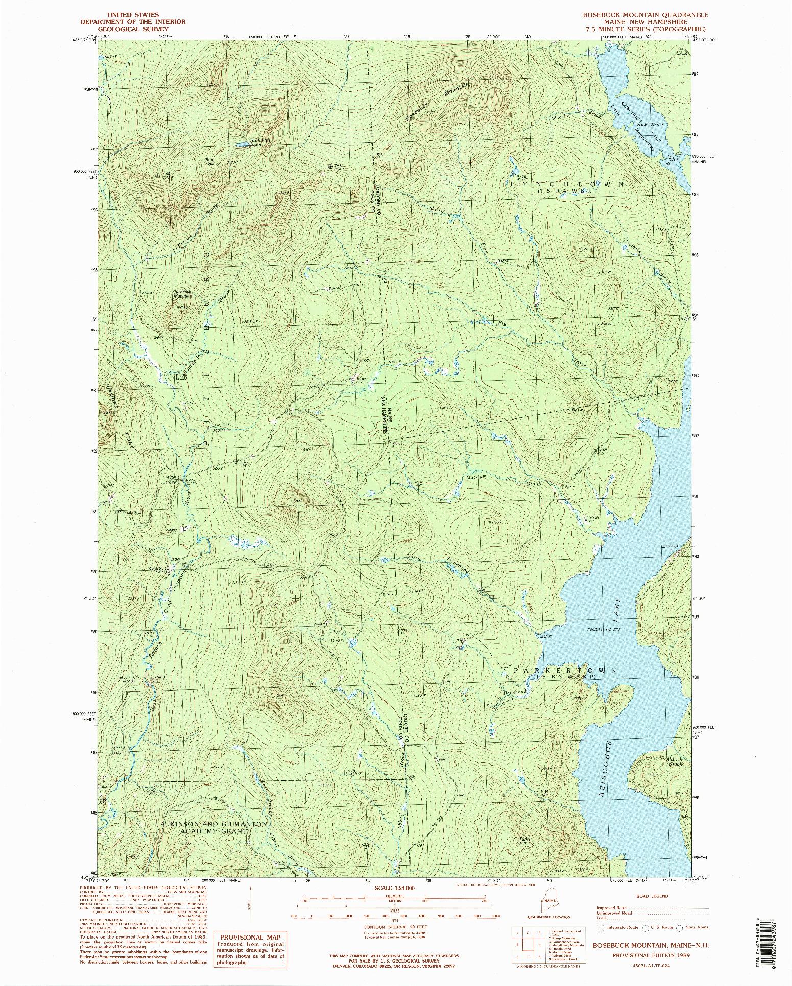 USGS 1:24000-SCALE QUADRANGLE FOR BOSEBUCK MOUNTAIN, ME 1989