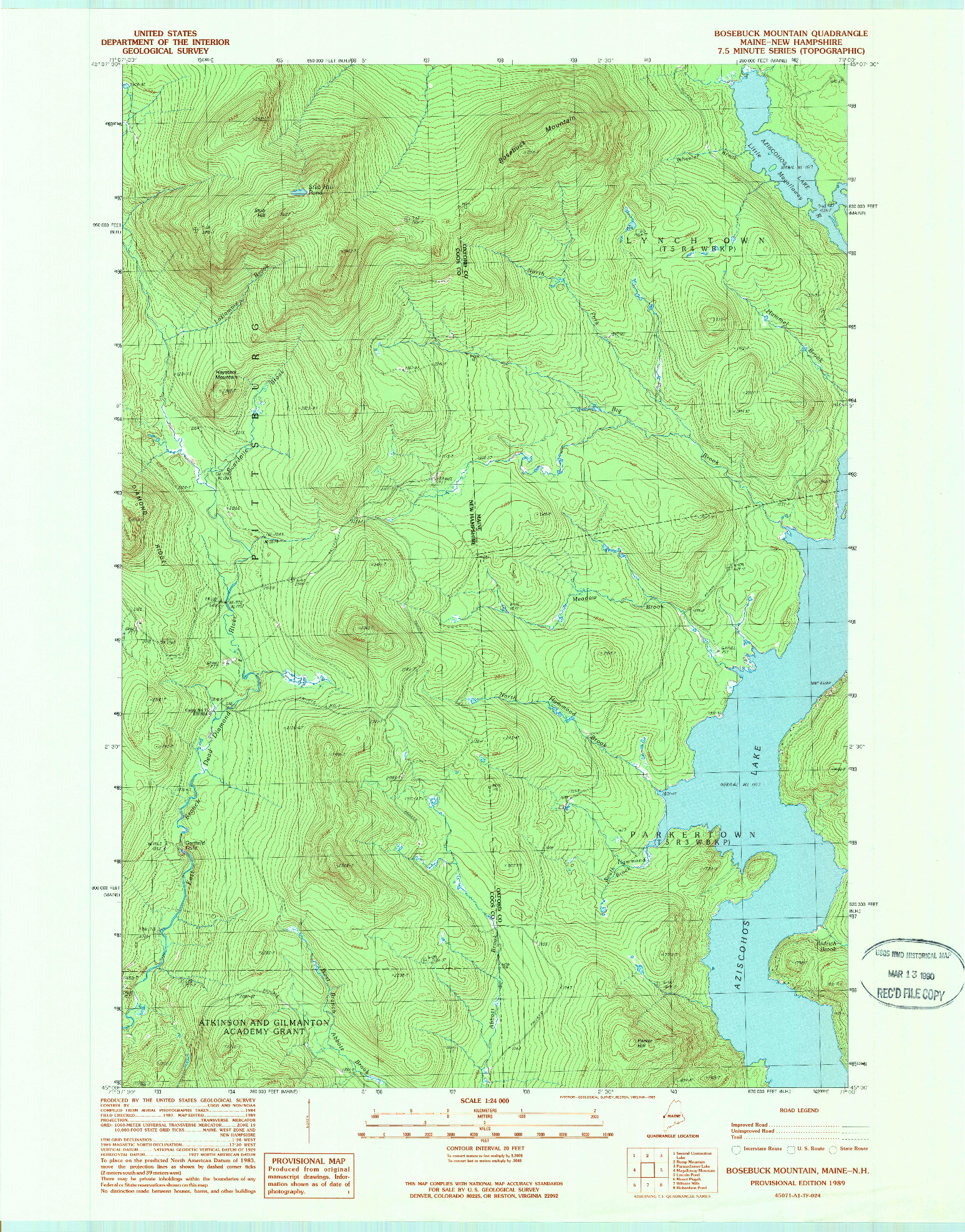 USGS 1:24000-SCALE QUADRANGLE FOR BOSEBUCK MOUNTAIN, ME 1989