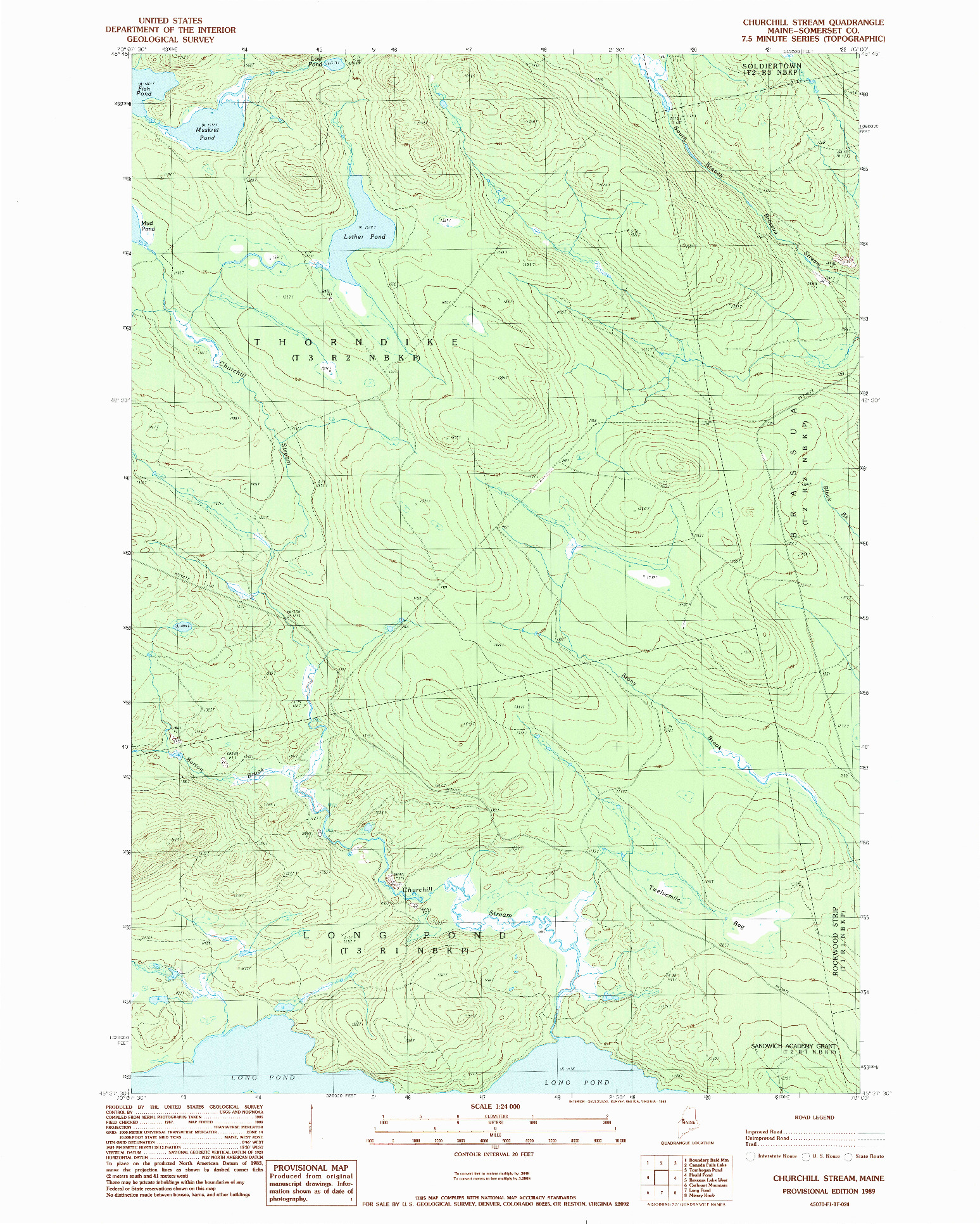 USGS 1:24000-SCALE QUADRANGLE FOR CHURCHILL STREAM, ME 1989
