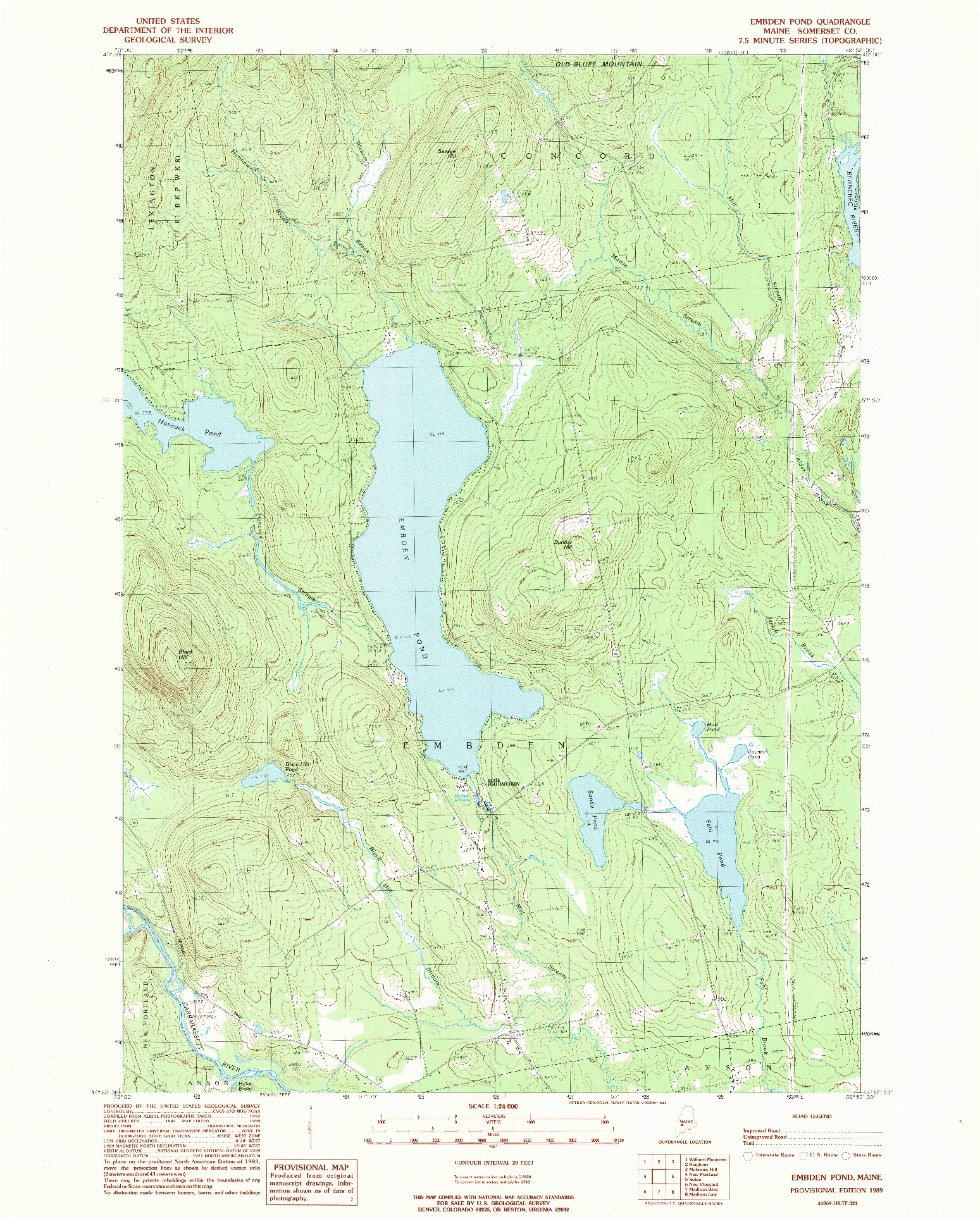 USGS 1:24000-SCALE QUADRANGLE FOR EMBDEN POND, ME 1989
