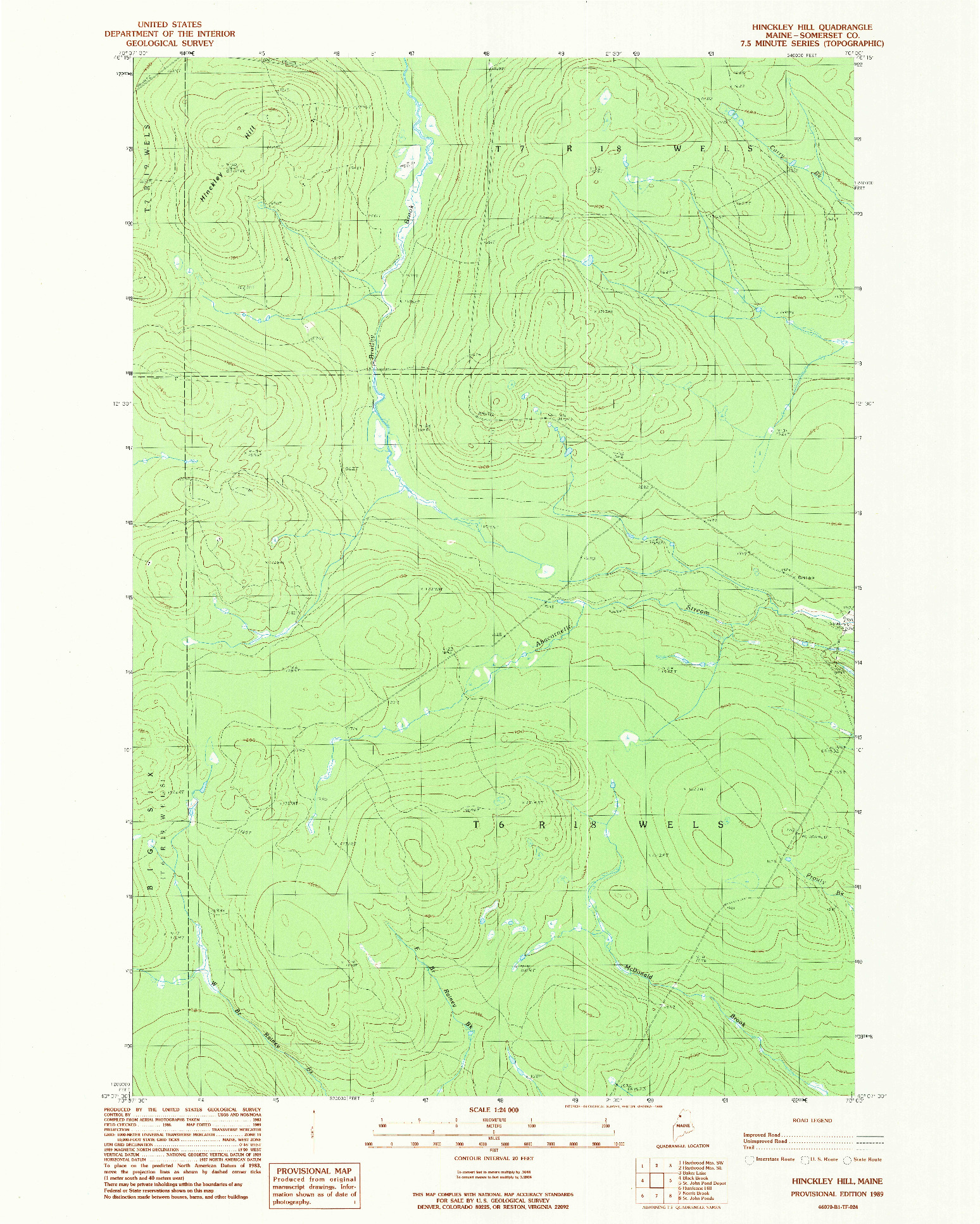 USGS 1:24000-SCALE QUADRANGLE FOR HINCKLEY HILL, ME 1989