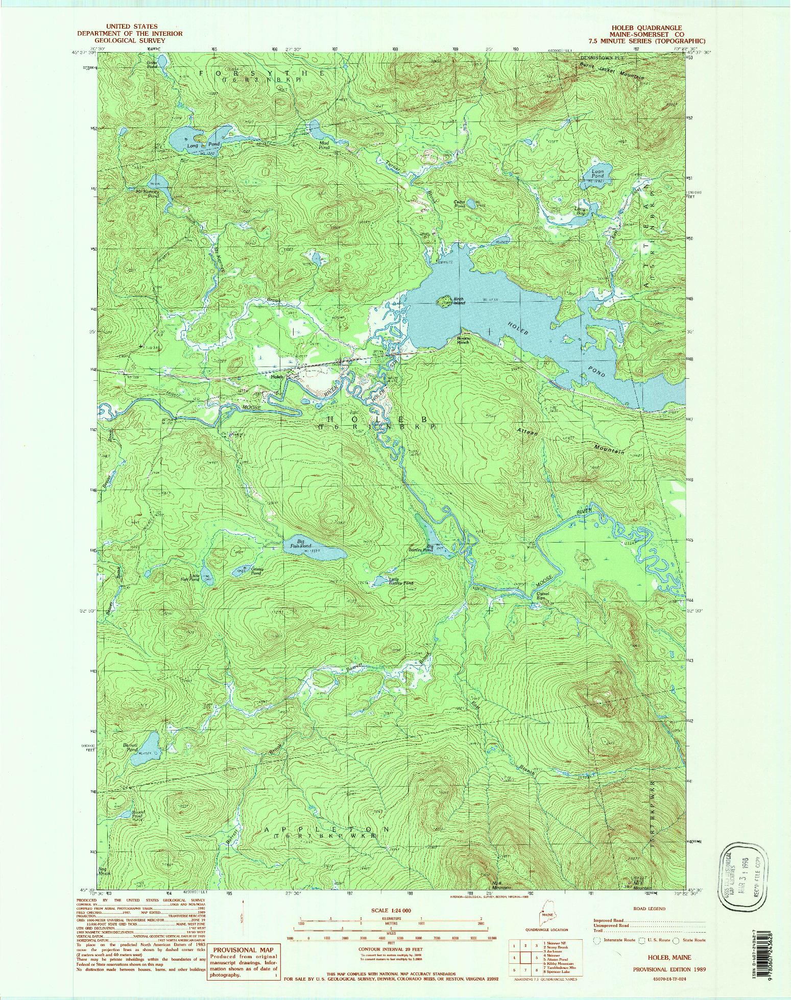 USGS 1:24000-SCALE QUADRANGLE FOR HOLEB, ME 1989
