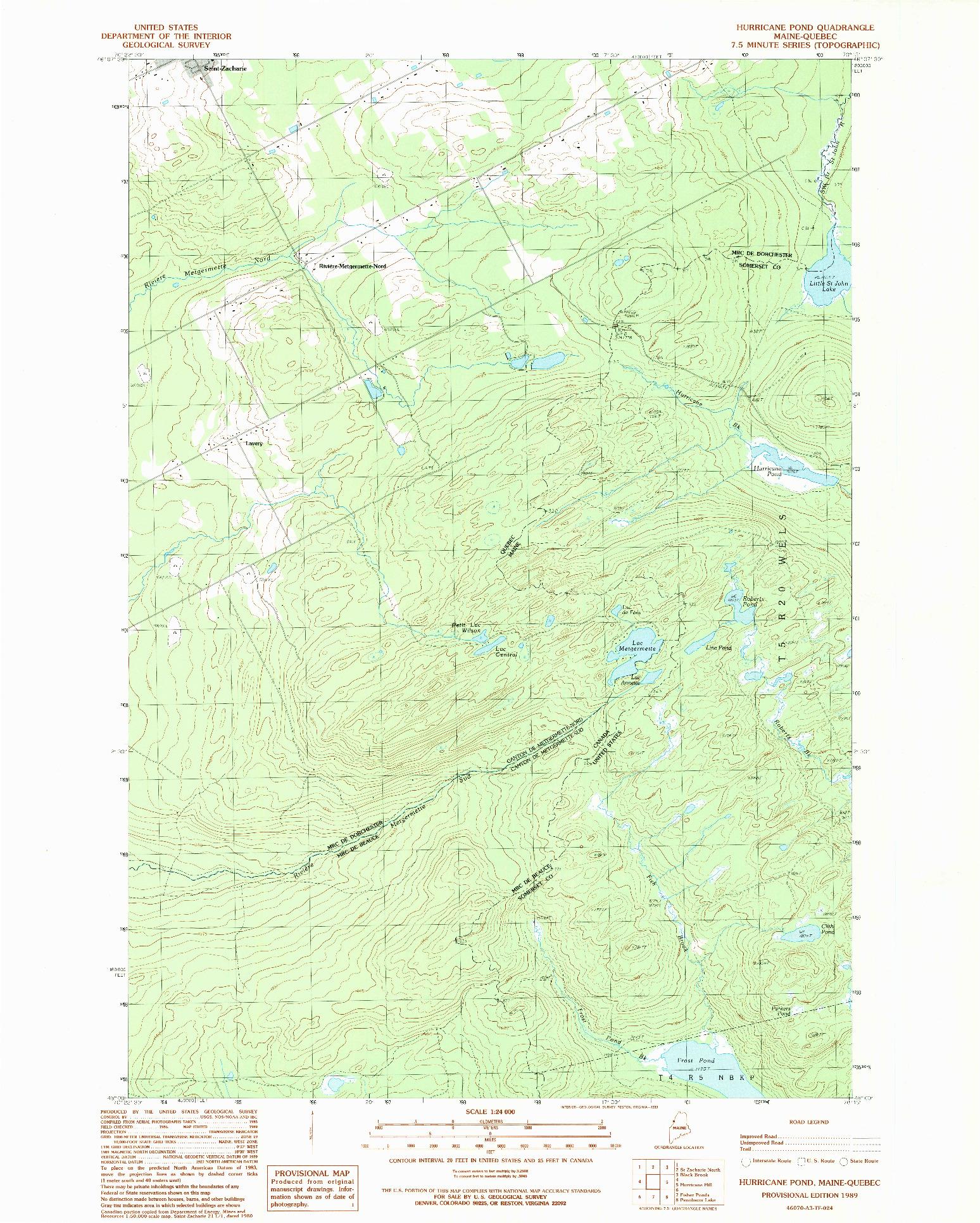 USGS 1:24000-SCALE QUADRANGLE FOR HURRICANE POND, ME 1989