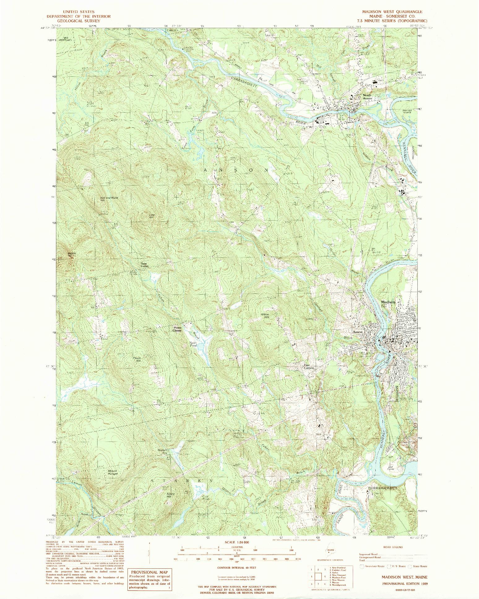 USGS 1:24000-SCALE QUADRANGLE FOR MADISON WEST, ME 1989