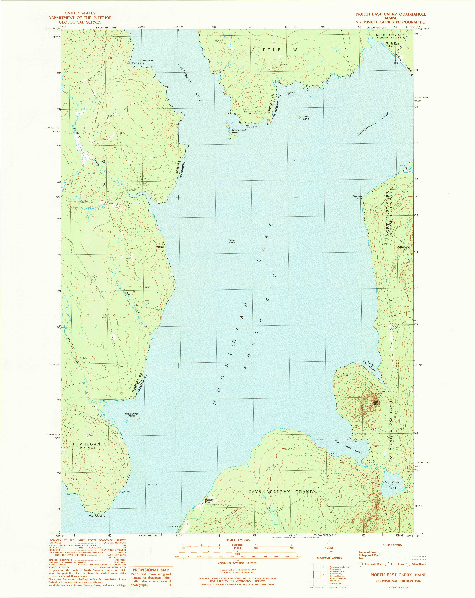 USGS 1:24000-SCALE QUADRANGLE FOR NORTH EAST CARRY, ME 1989