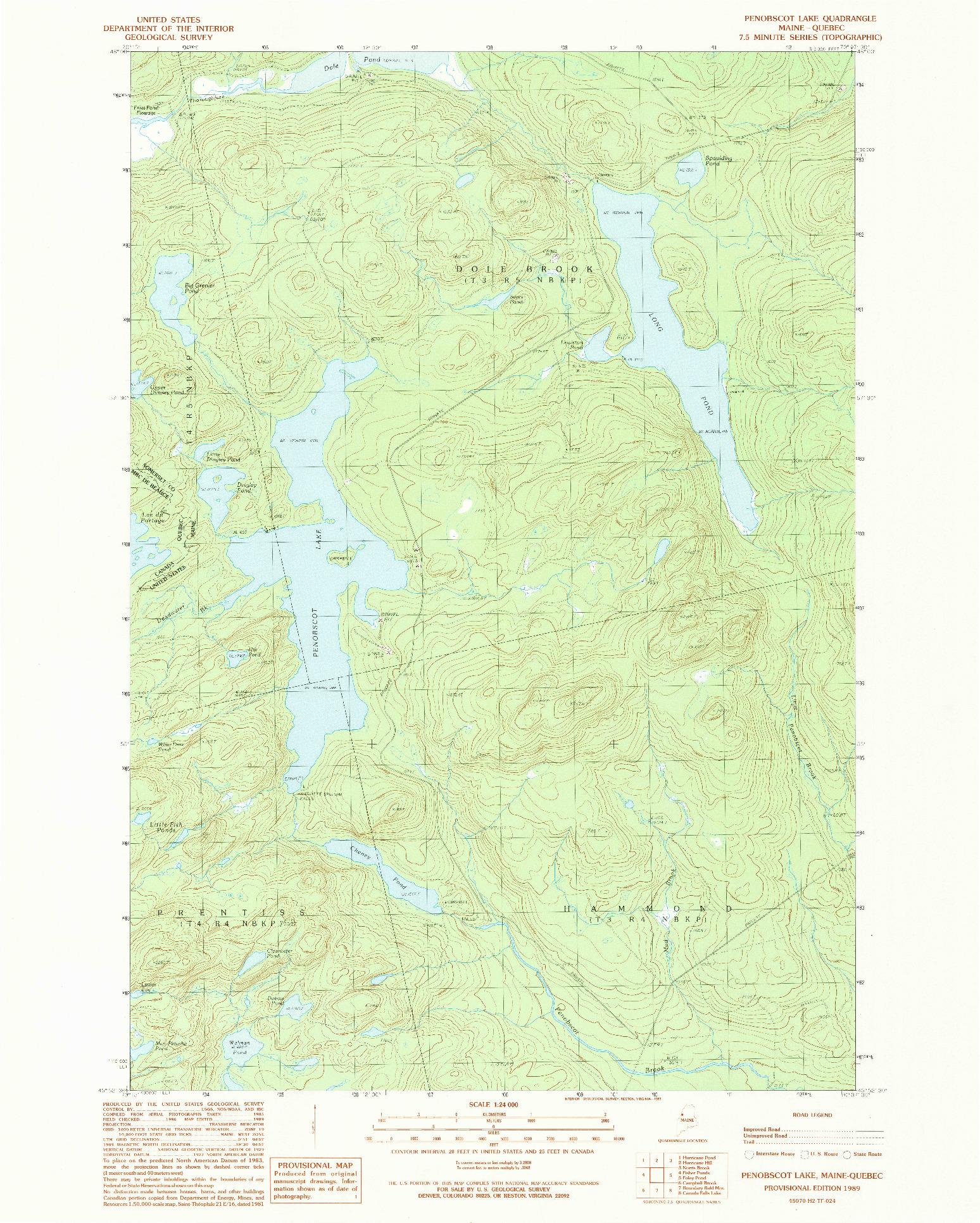 USGS 1:24000-SCALE QUADRANGLE FOR PENOBSCOT LAKE, ME 1989