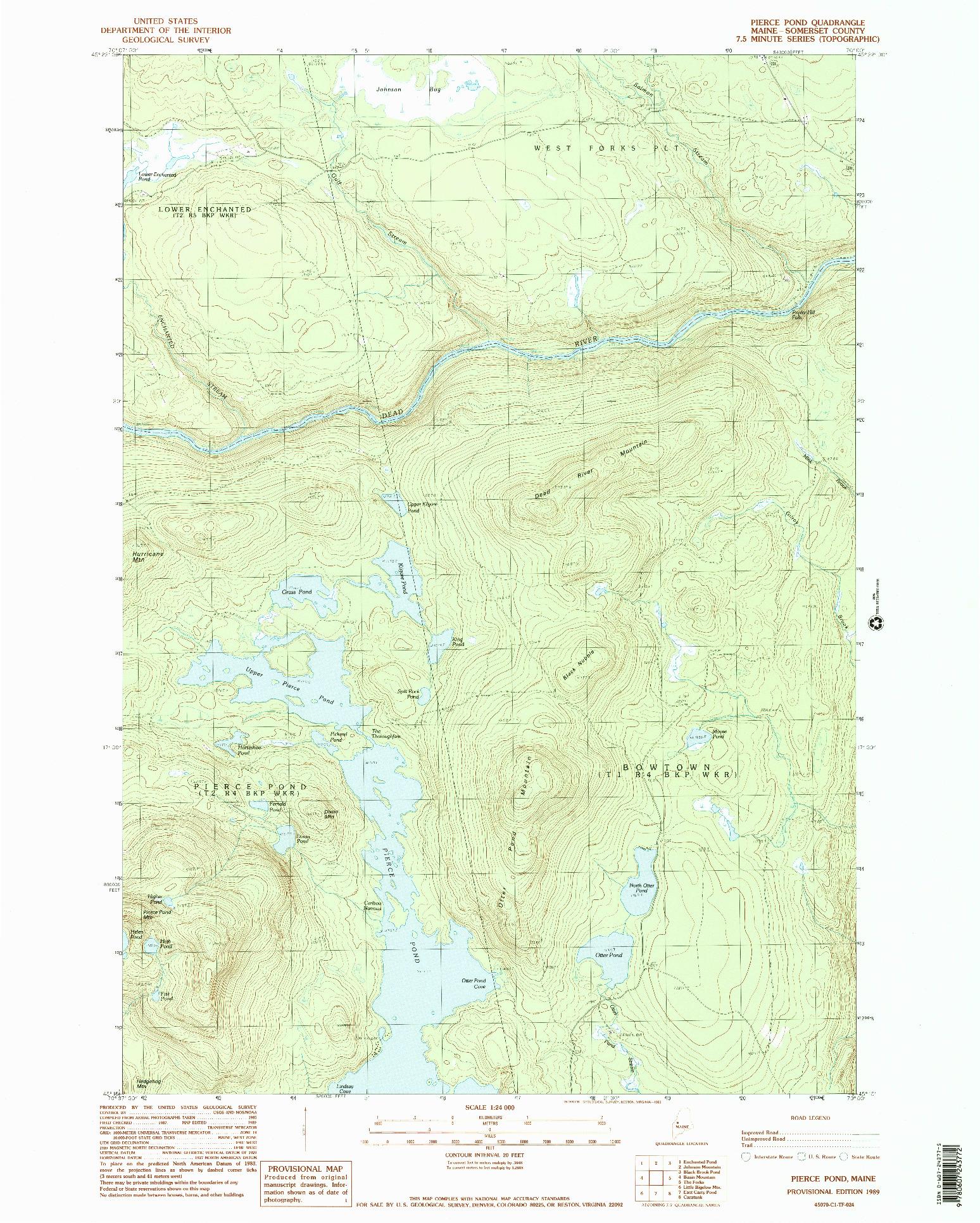 USGS 1:24000-SCALE QUADRANGLE FOR PIERCE POND, ME 1989