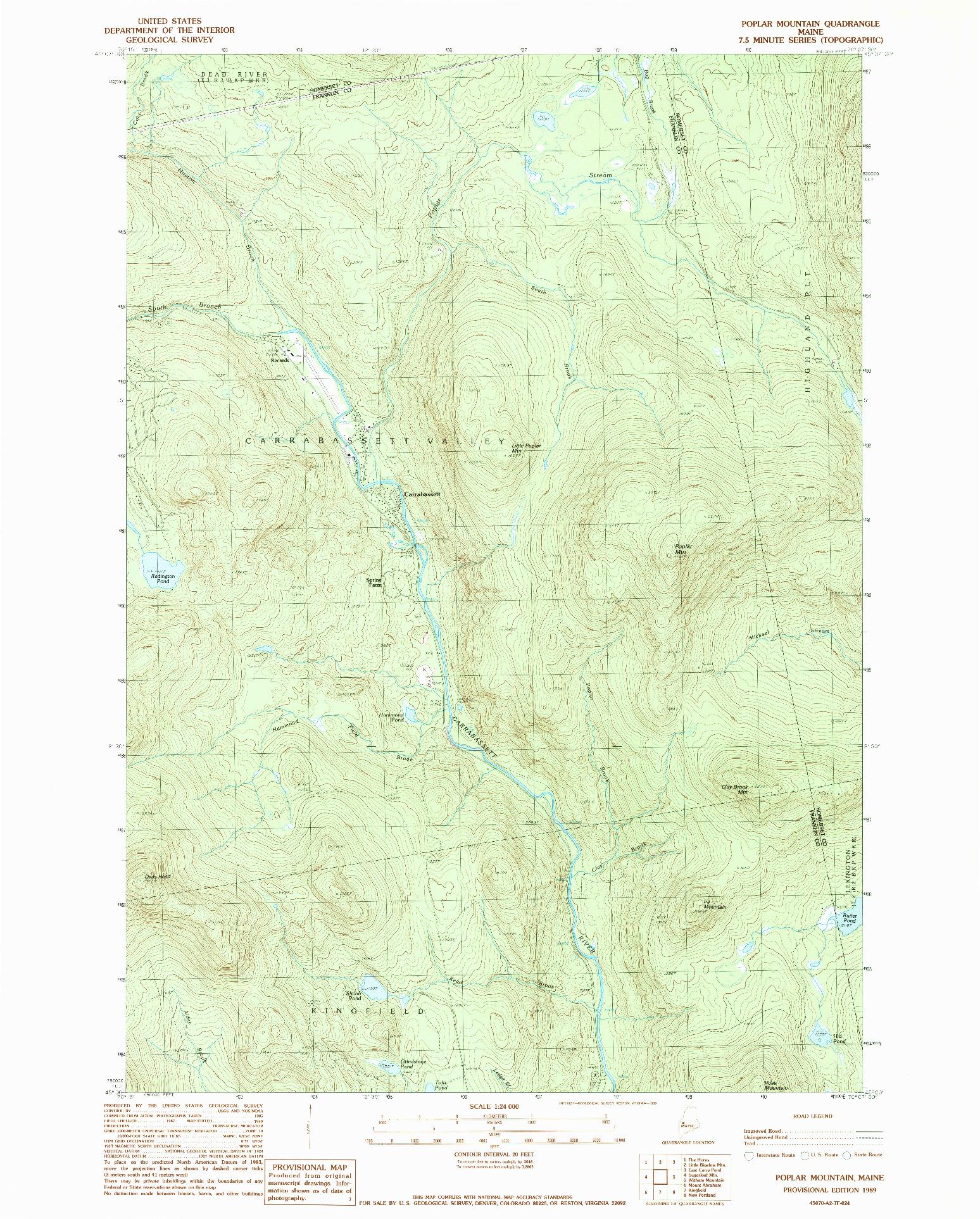 USGS 1:24000-SCALE QUADRANGLE FOR POPLAR MOUNTAIN, ME 1989