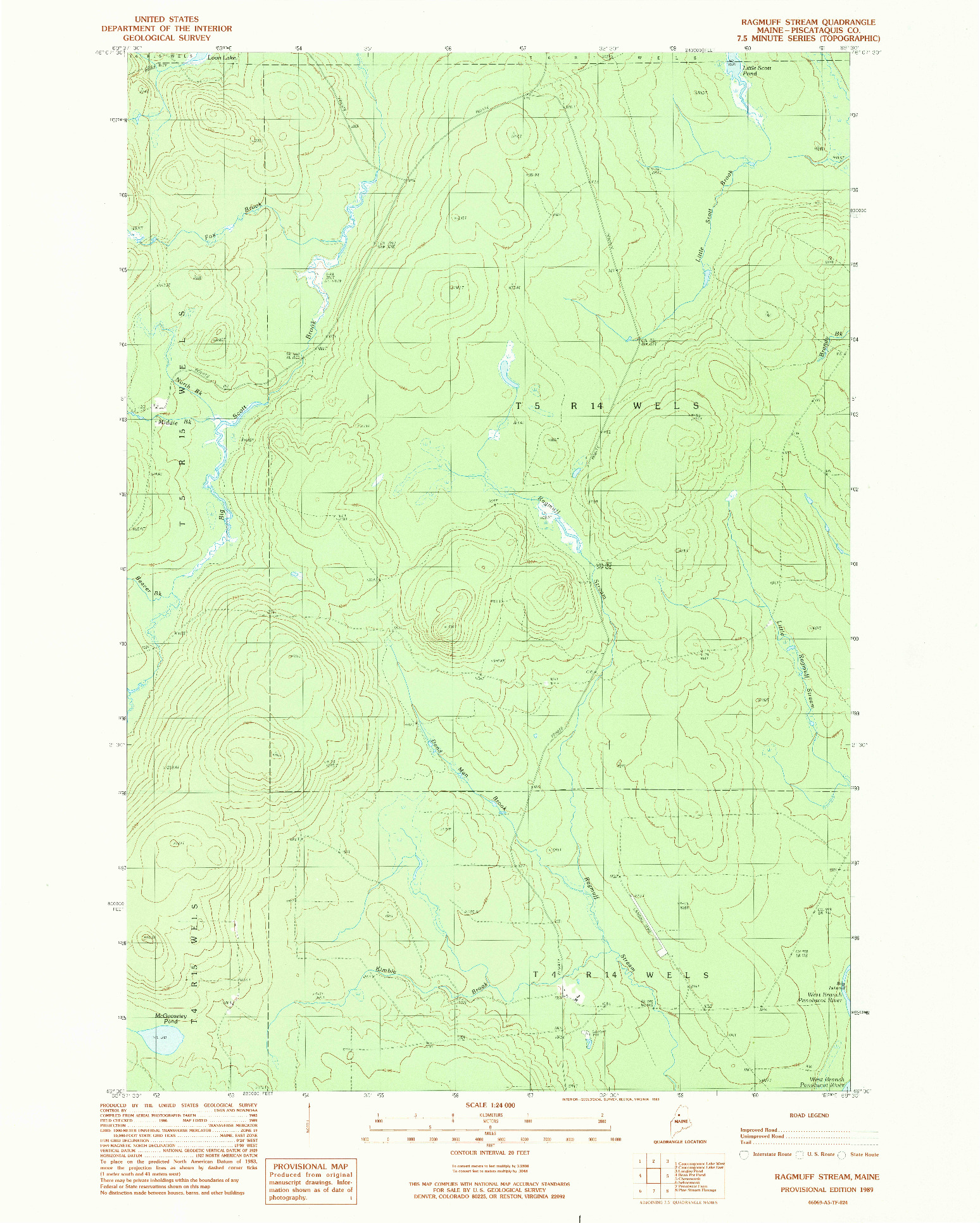 USGS 1:24000-SCALE QUADRANGLE FOR RAGMUFF STREAM, ME 1989
