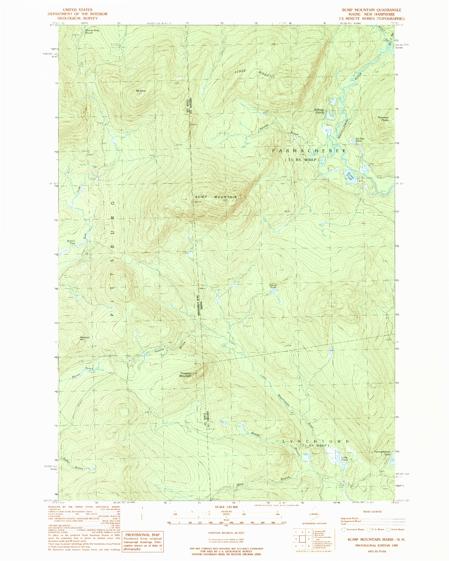 USGS 1:24000-SCALE QUADRANGLE FOR RUMP MOUNTAIN, ME 1989