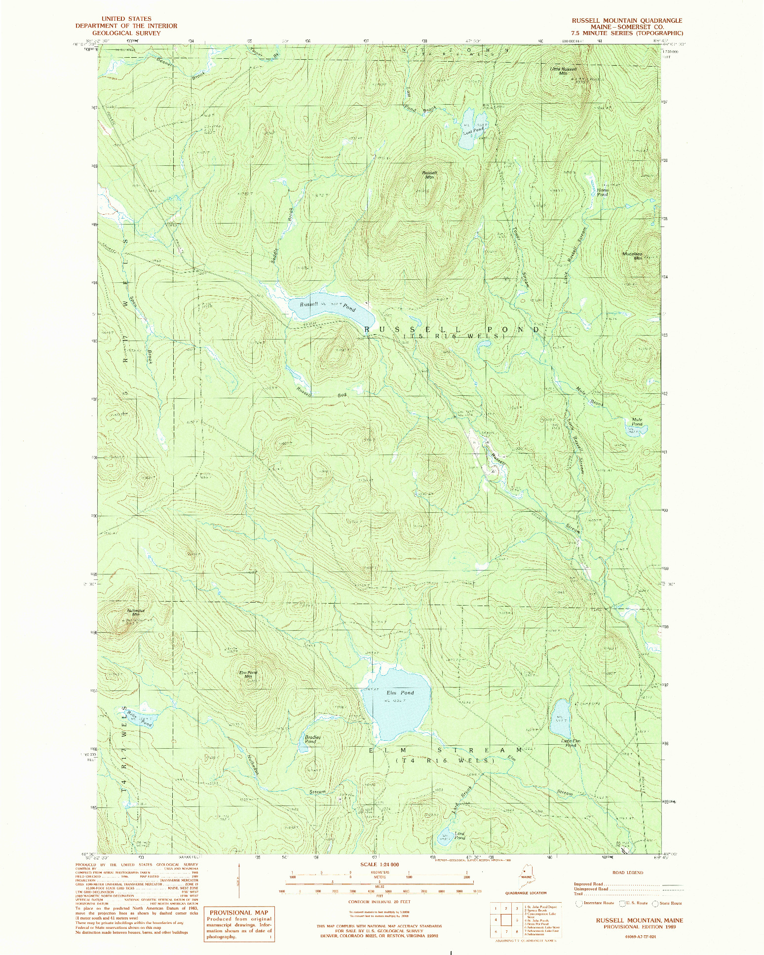 USGS 1:24000-SCALE QUADRANGLE FOR RUSSELL MOUNTAIN, ME 1989