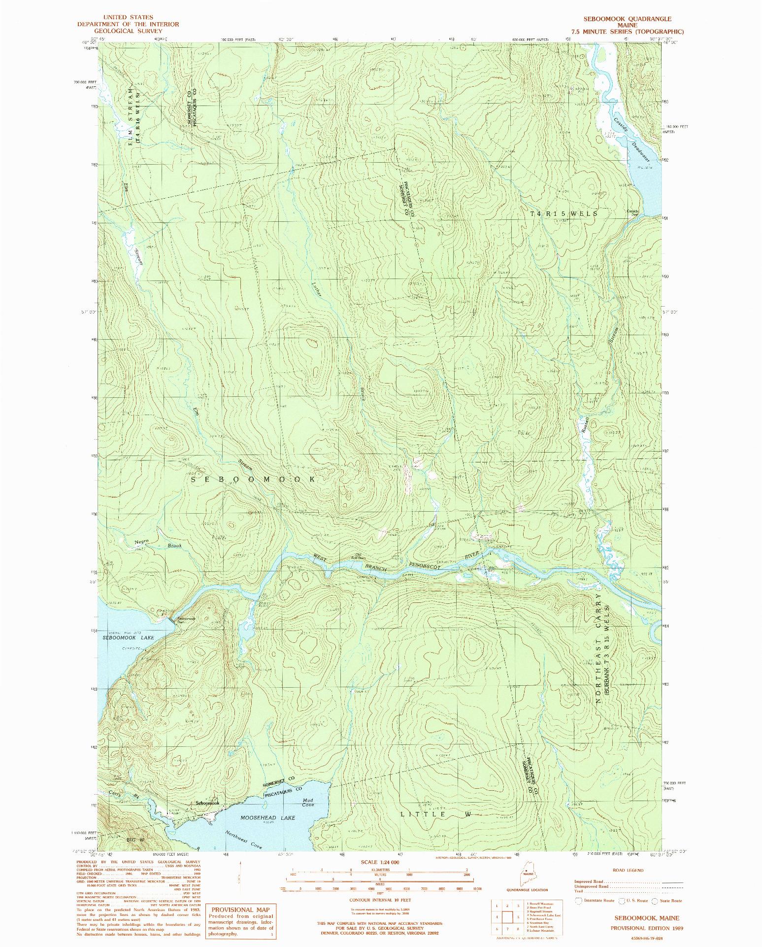 USGS 1:24000-SCALE QUADRANGLE FOR SEBOOMOOK, ME 1989