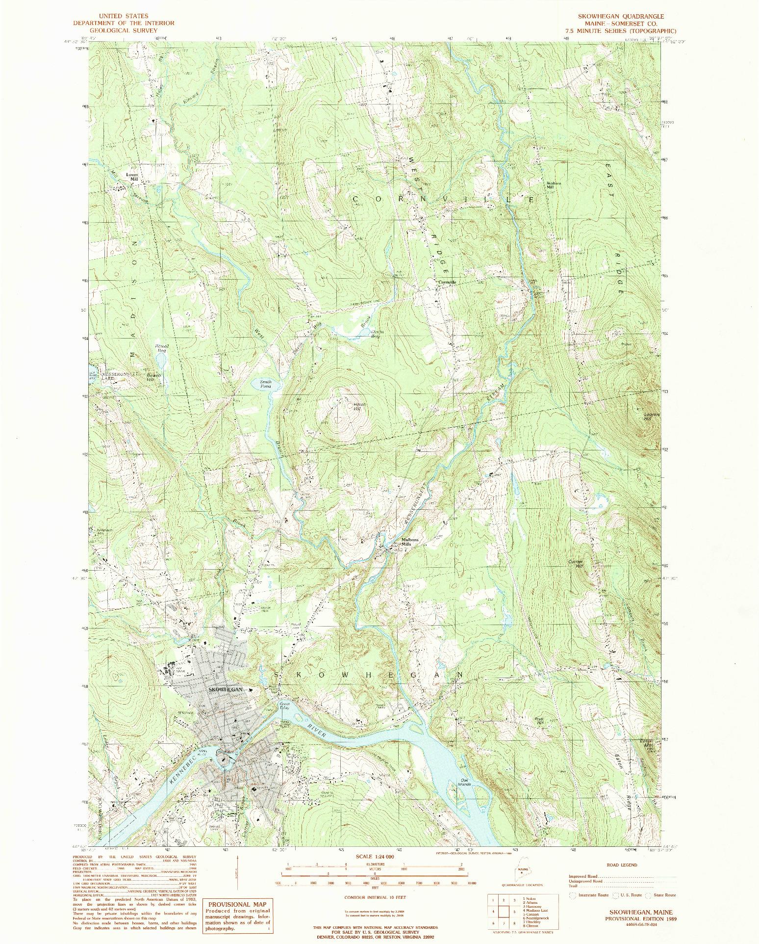 USGS 1:24000-SCALE QUADRANGLE FOR SKOWHEGAN, ME 1989