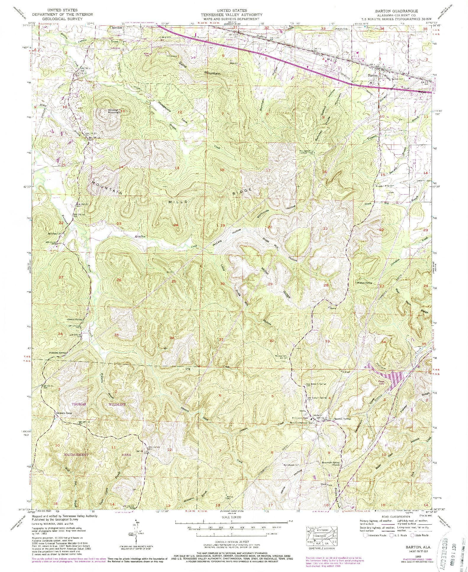 USGS 1:24000-SCALE QUADRANGLE FOR BARTON, AL 1953
