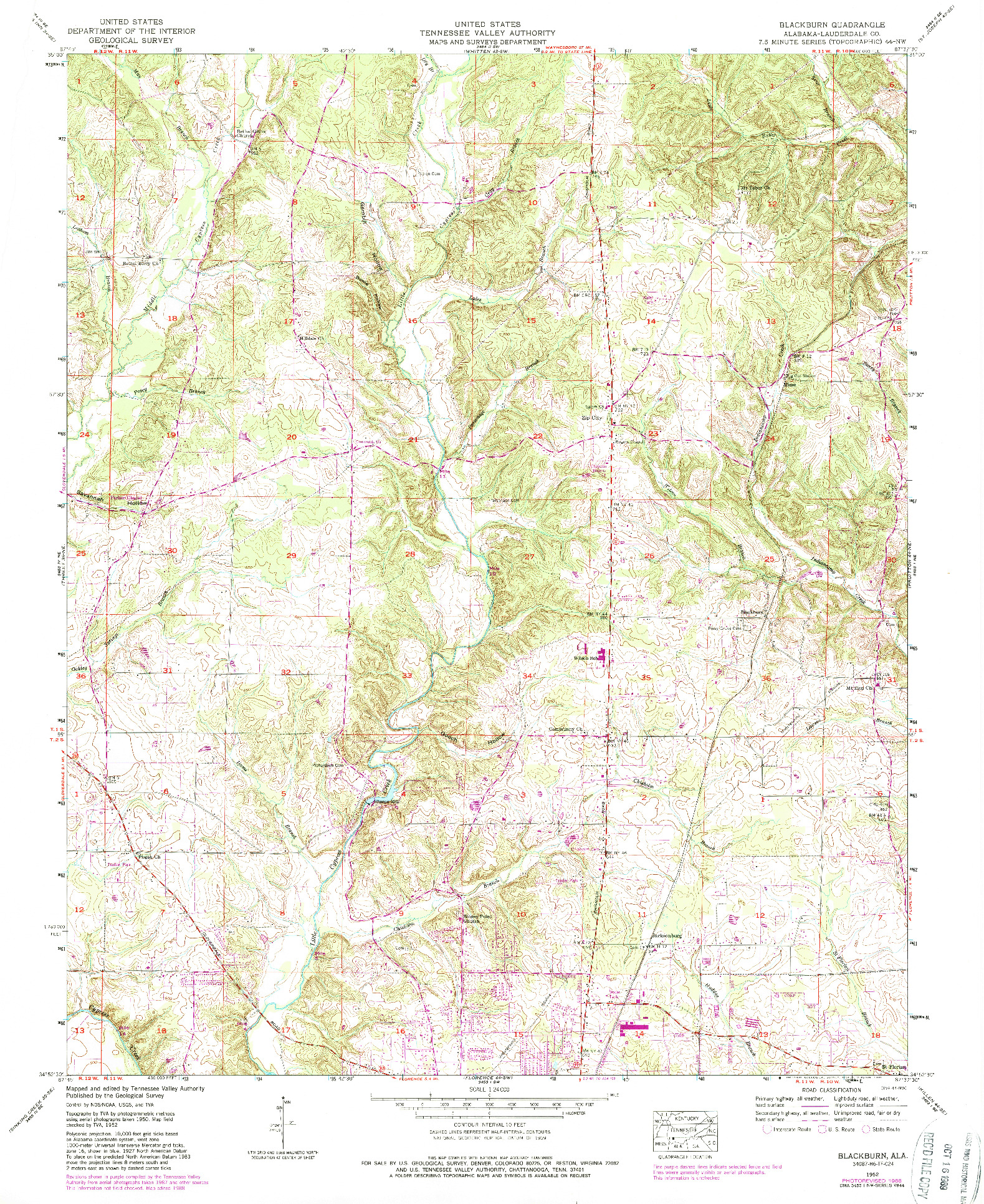 USGS 1:24000-SCALE QUADRANGLE FOR BLACKBURN, AL 1952