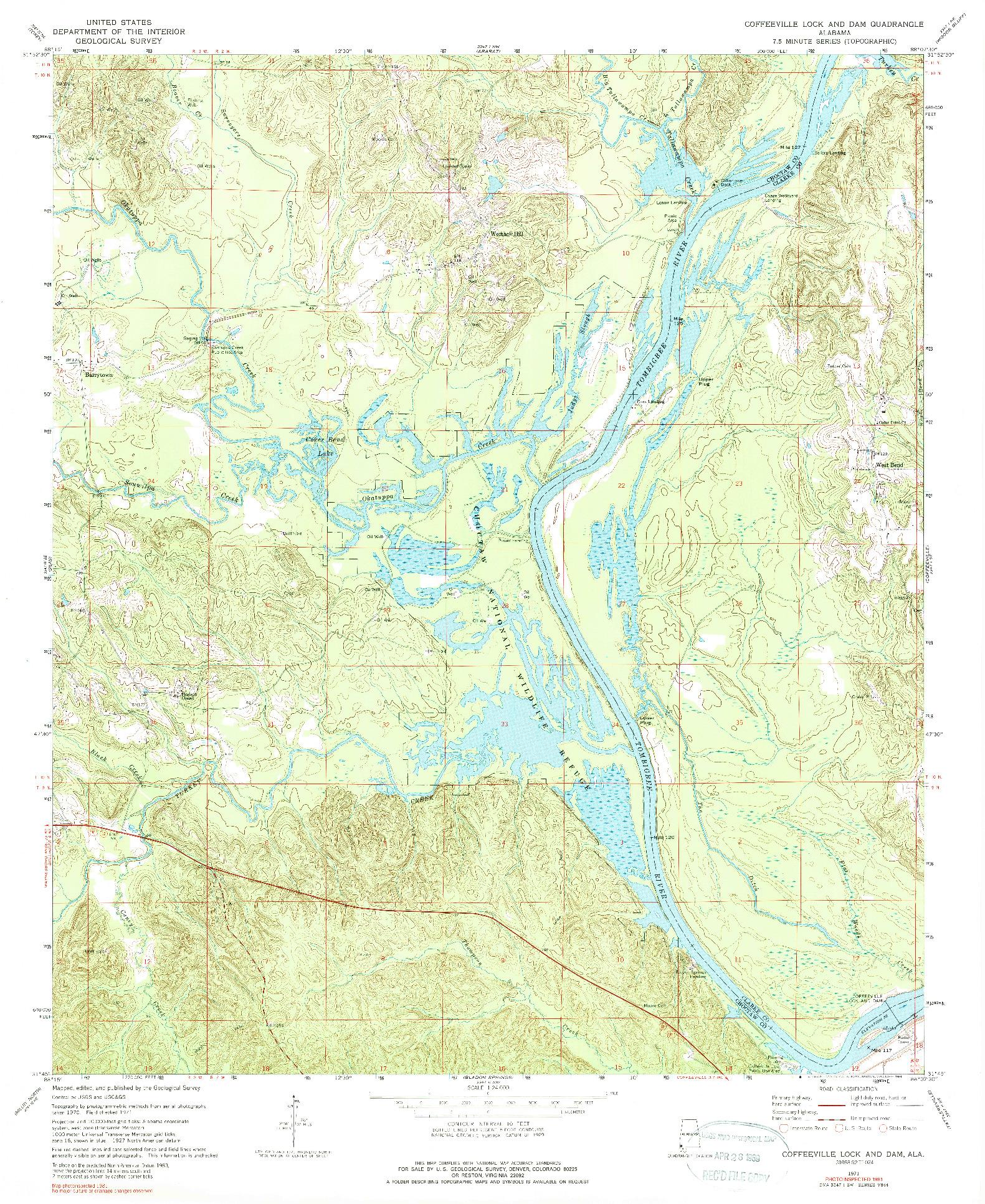 USGS 1:24000-SCALE QUADRANGLE FOR COFFEEVILLE LOCK AND DAM, AL 1971