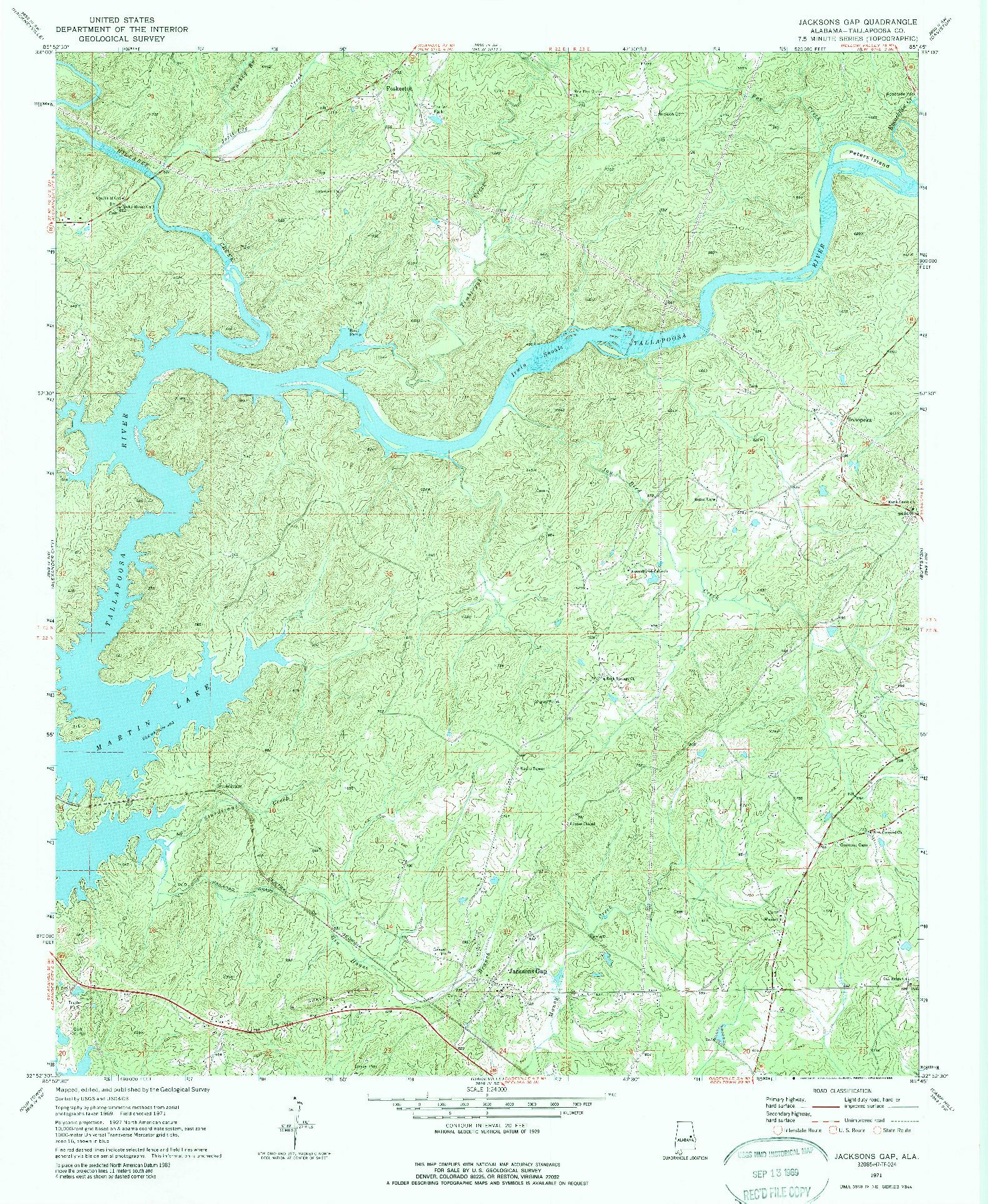 USGS 1:24000-SCALE QUADRANGLE FOR JACKSONS GAP, AL 1971