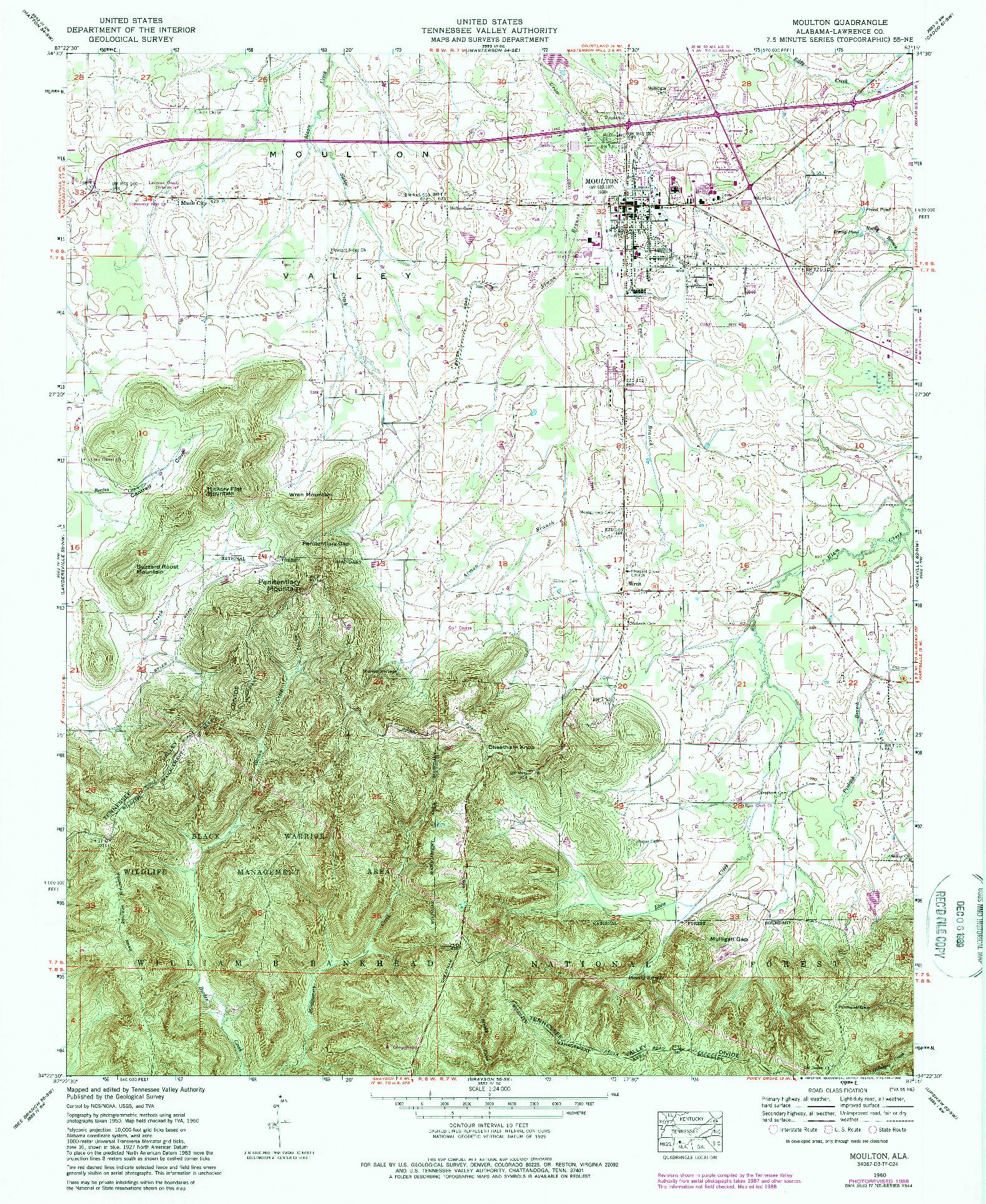 USGS 1:24000-SCALE QUADRANGLE FOR MOULTON, AL 1960