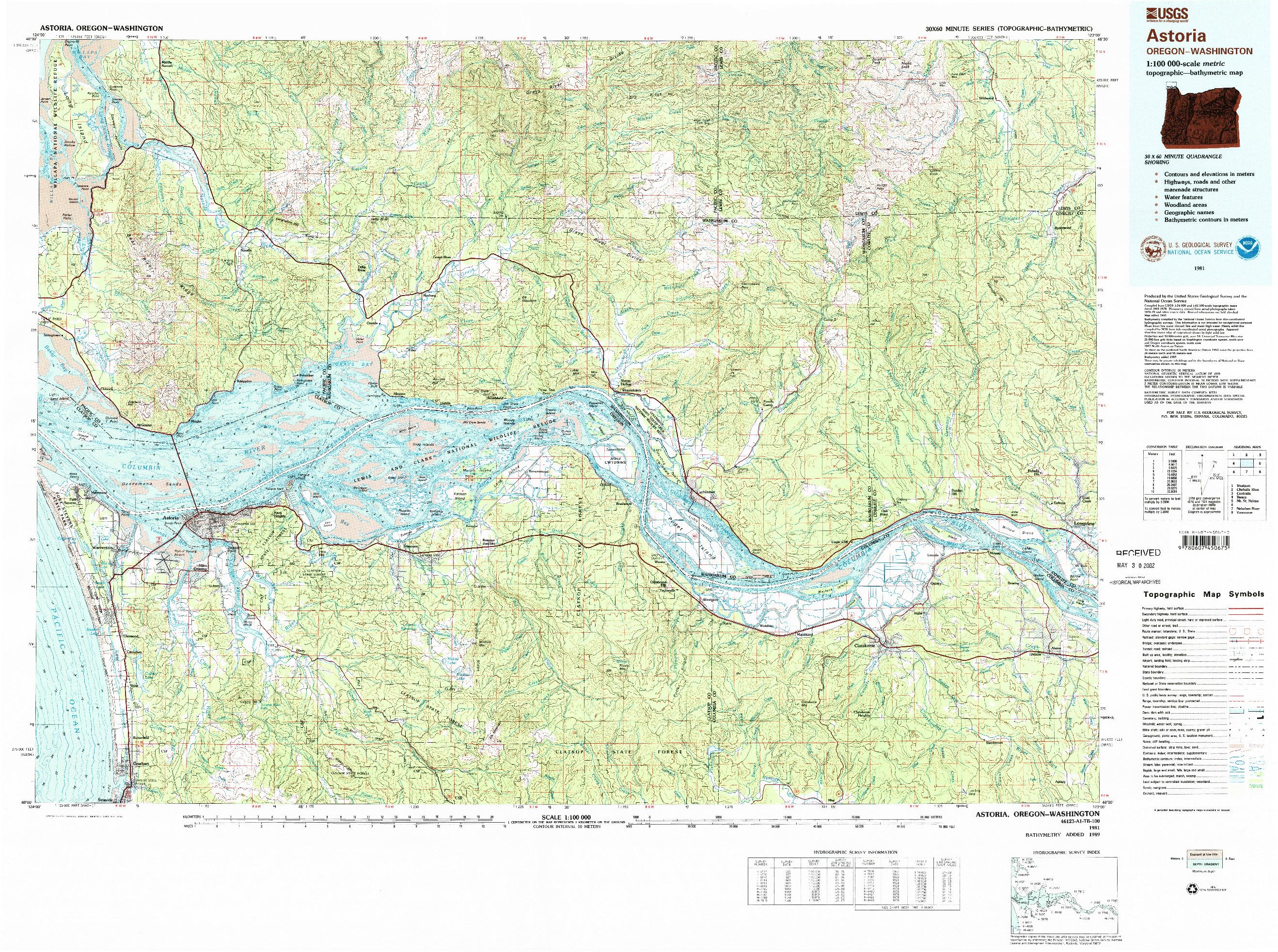 USGS 1:100000-SCALE QUADRANGLE FOR ASTORIA, OR 1981