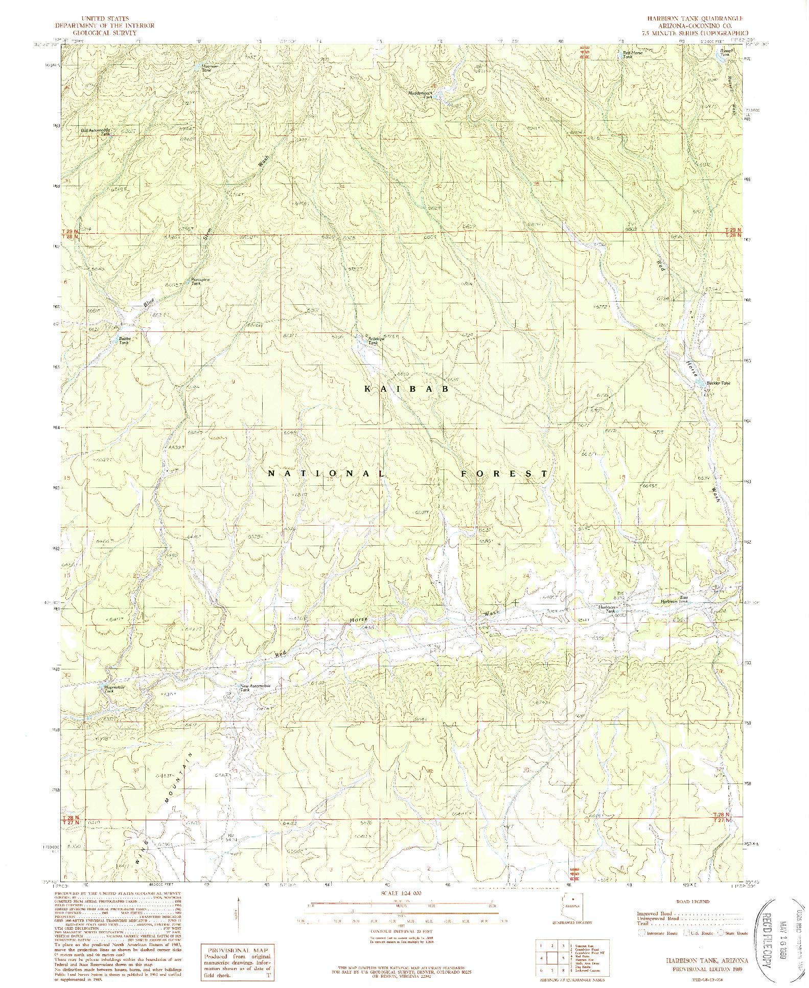 USGS 1:24000-SCALE QUADRANGLE FOR HARBISON TANK, AZ 1989