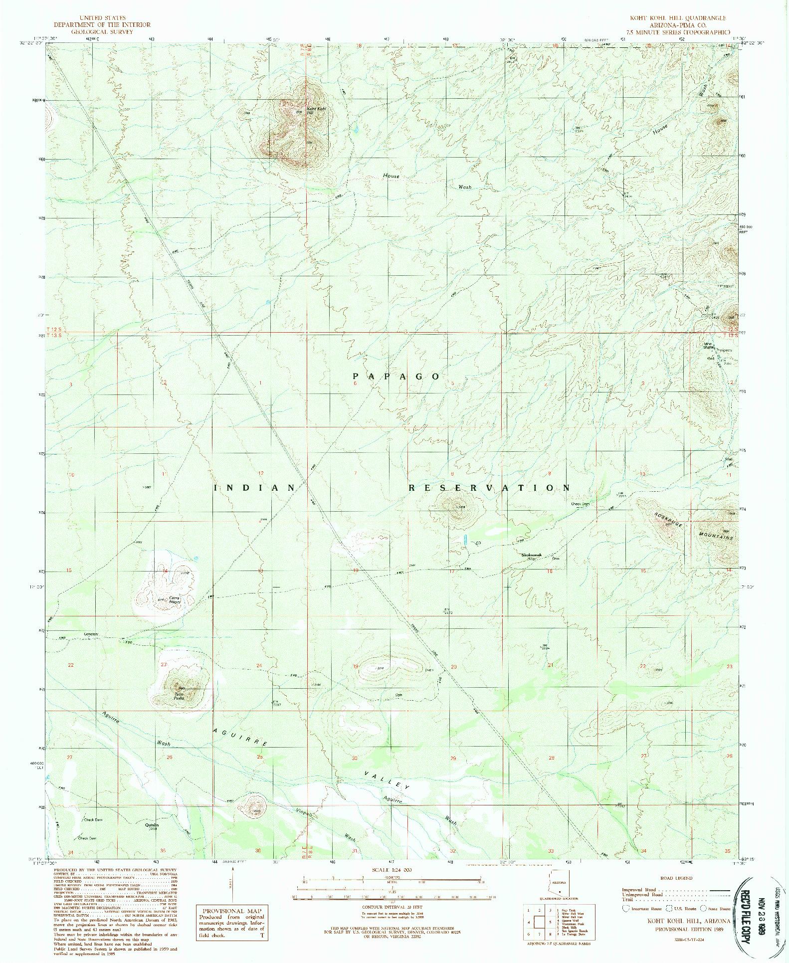 USGS 1:24000-SCALE QUADRANGLE FOR KOHT KOHL HILL, AZ 1989