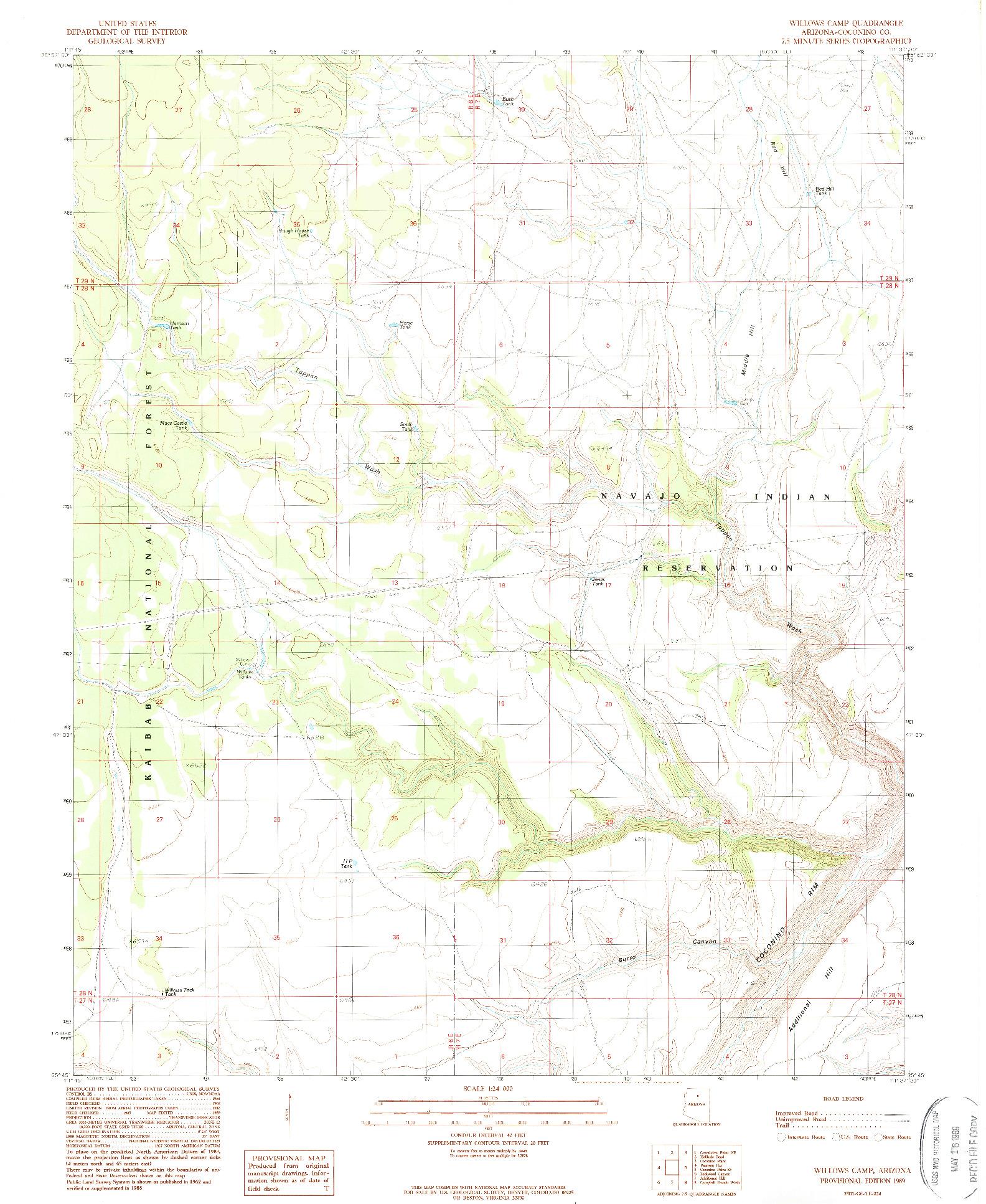 USGS 1:24000-SCALE QUADRANGLE FOR WILLOWS CAMP, AZ 1989