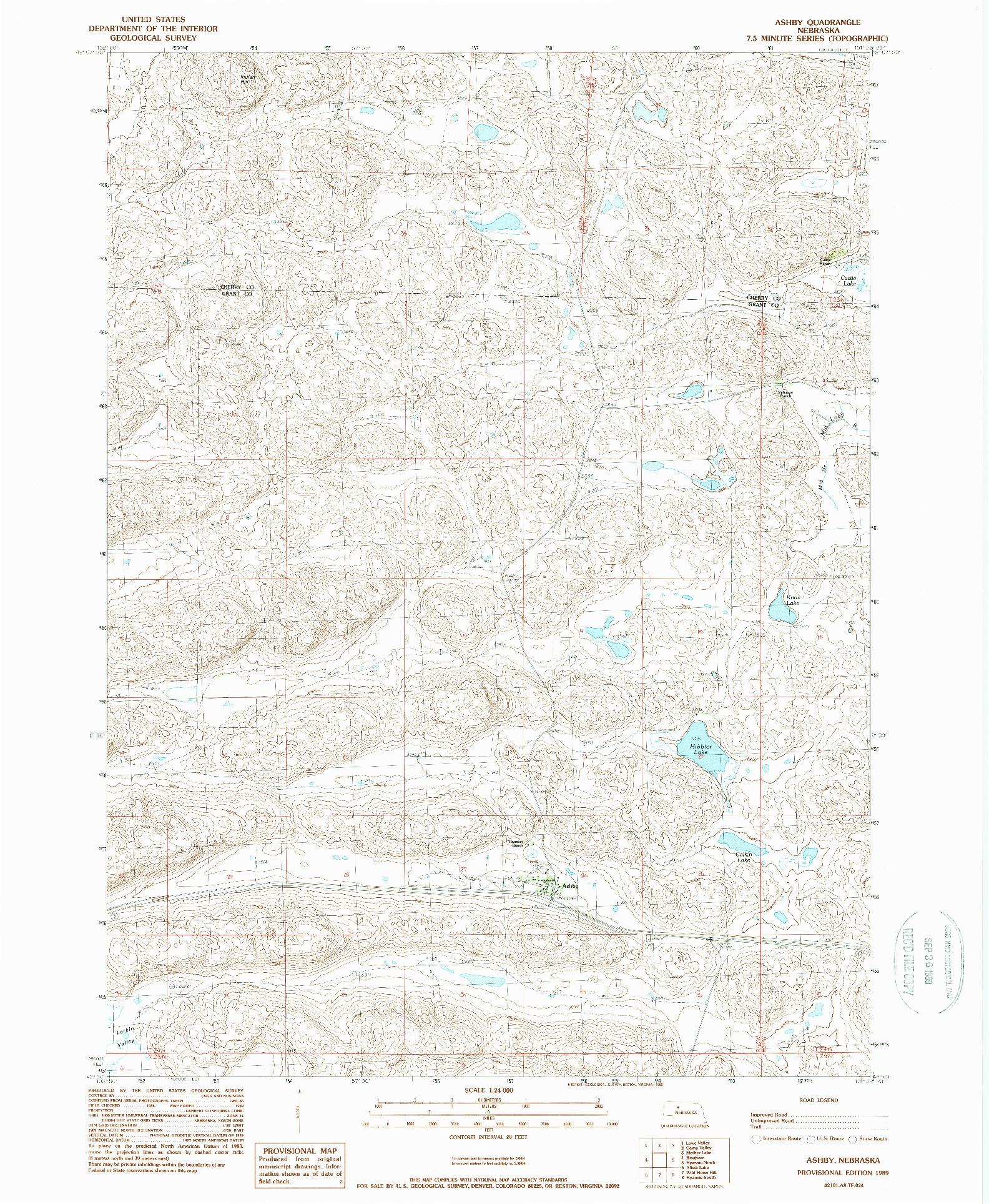 USGS 1:24000-SCALE QUADRANGLE FOR ASHBY, NE 1989