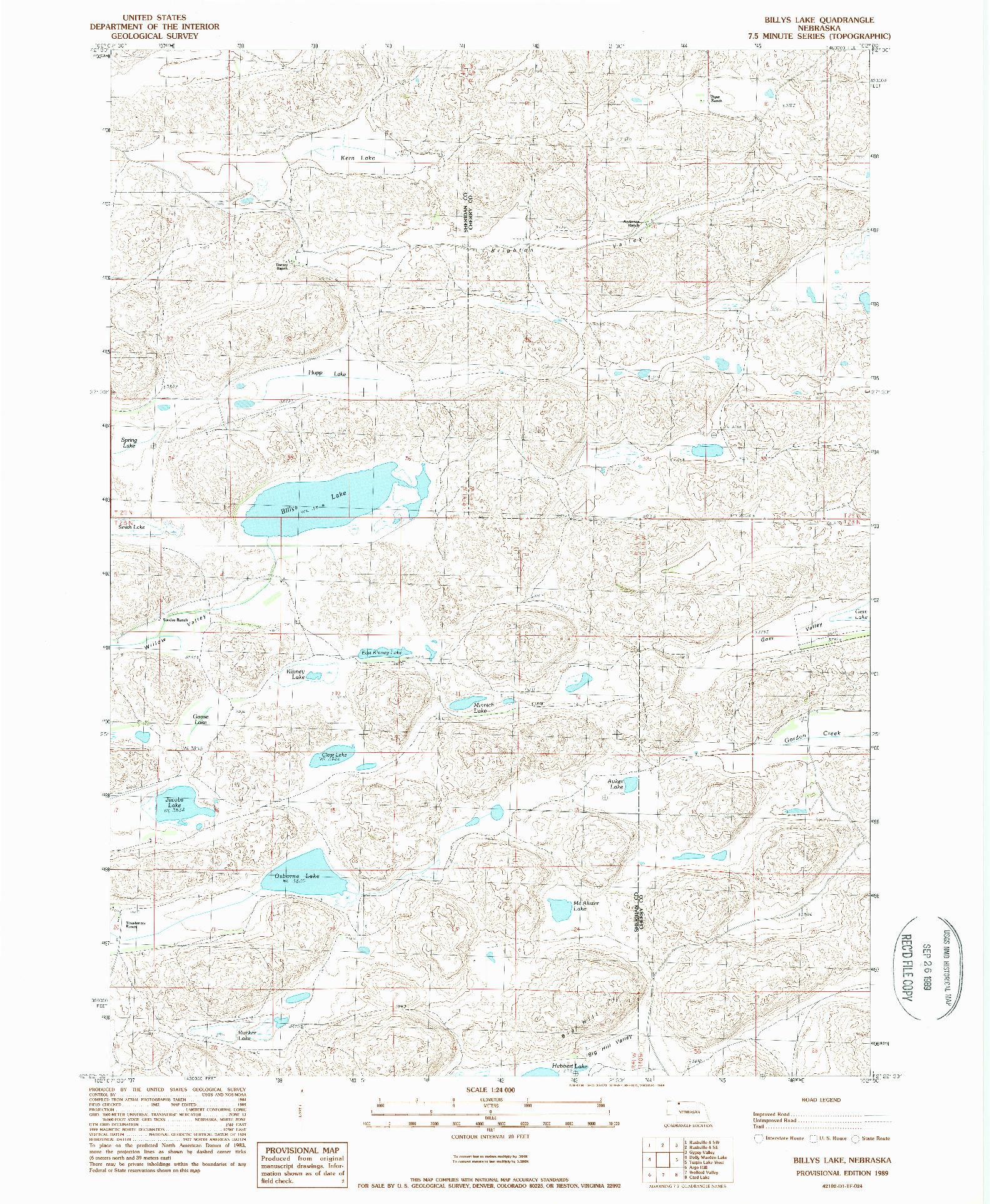 USGS 1:24000-SCALE QUADRANGLE FOR BILLYS LAKE, NE 1989