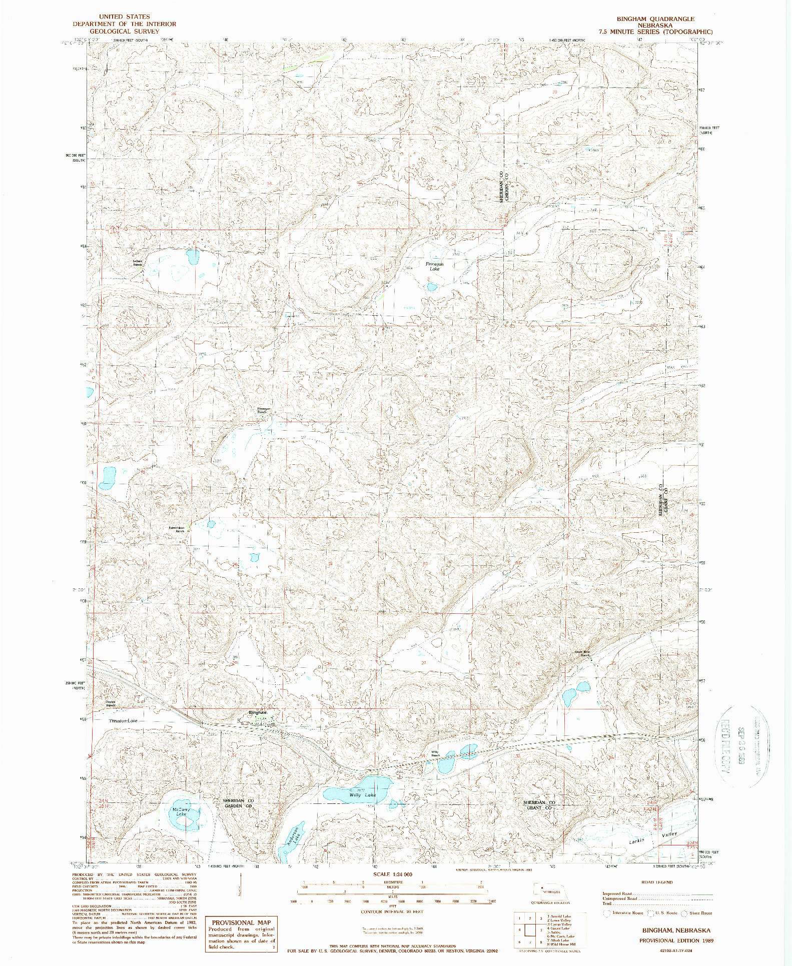 USGS 1:24000-SCALE QUADRANGLE FOR BINGHAM, NE 1989