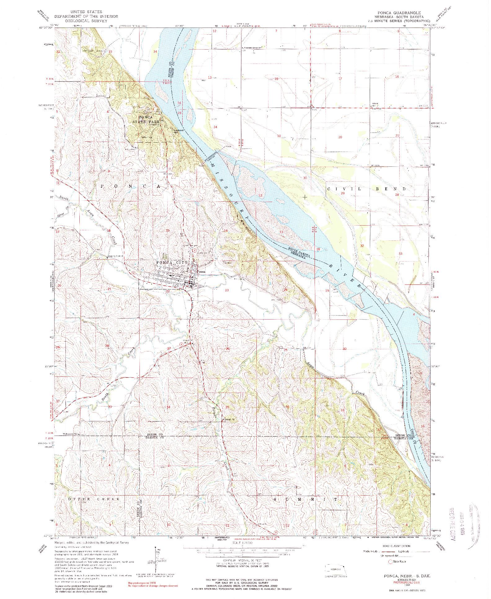 USGS 1:24000-SCALE QUADRANGLE FOR PONCA, NE 1964