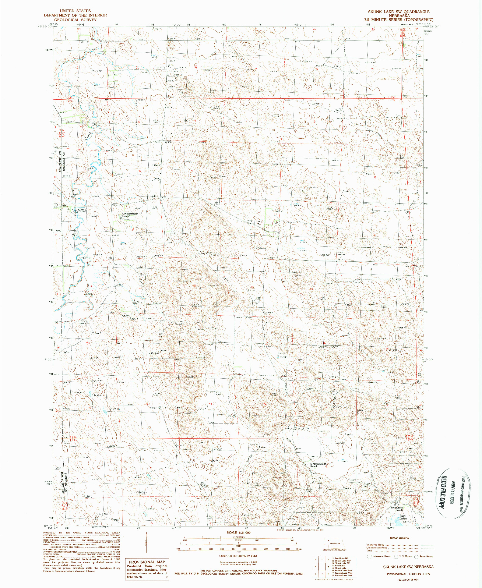 USGS 1:24000-SCALE QUADRANGLE FOR SKUNK LAKE SW, NE 1989