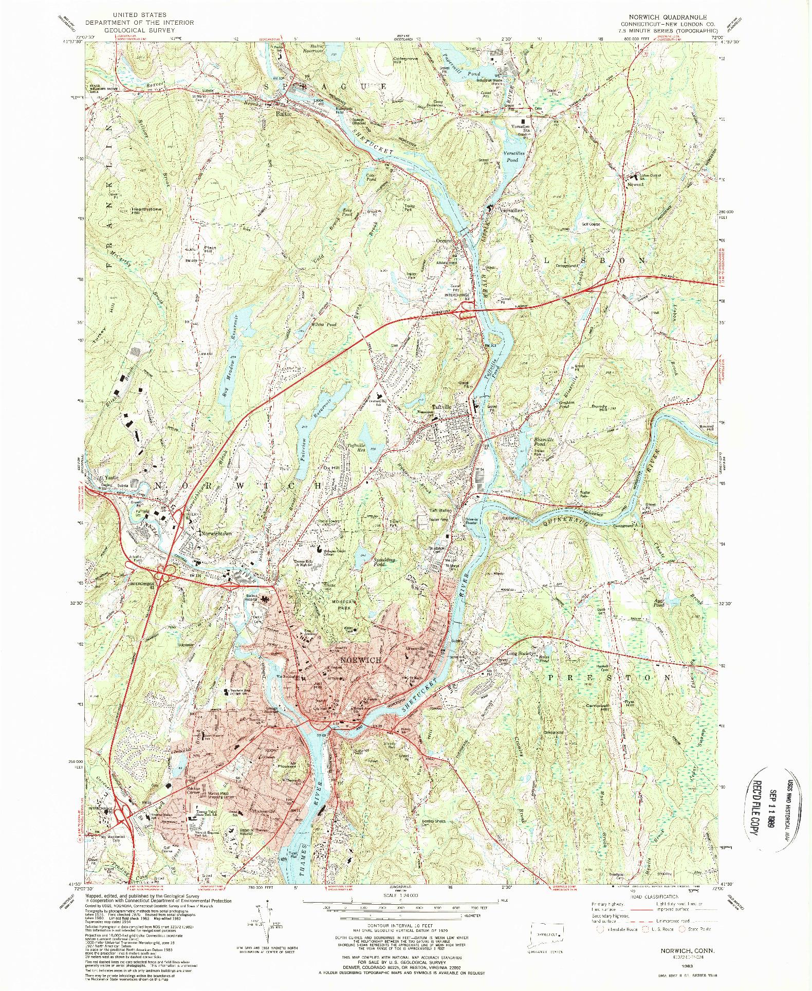 USGS 1:24000-SCALE QUADRANGLE FOR NORWICH, CT 1983