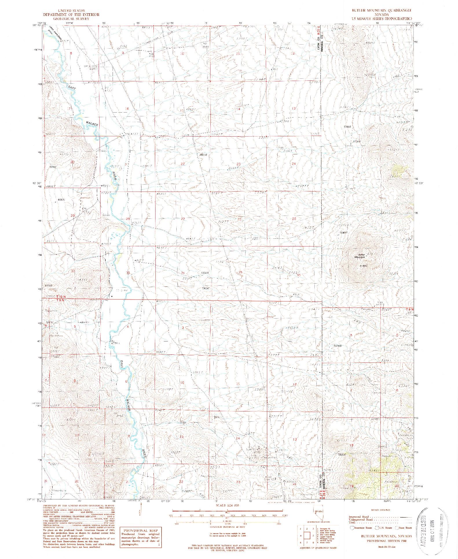 USGS 1:24000-SCALE QUADRANGLE FOR BUTLER MOUNTAIN, NV 1988