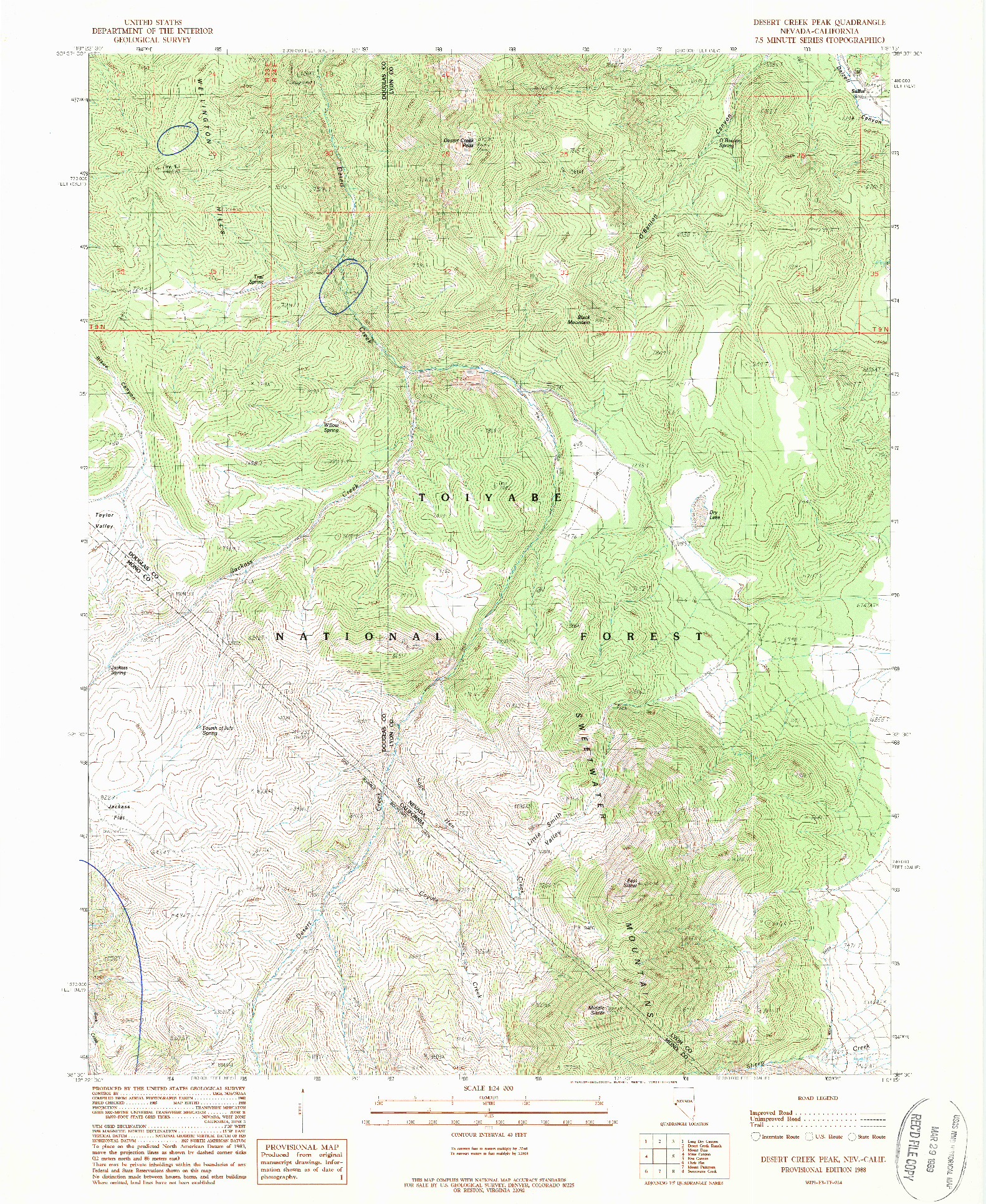 USGS 1:24000-SCALE QUADRANGLE FOR DESERT CREEK PEAK, NV 1988
