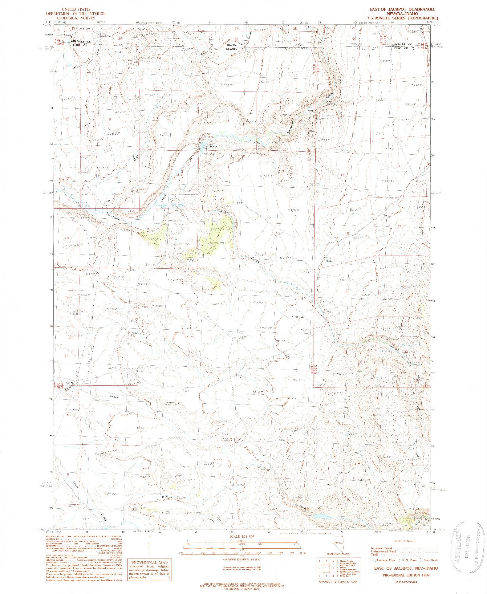 USGS 1:24000-SCALE QUADRANGLE FOR EAST OF JACKPOT, NV 1989