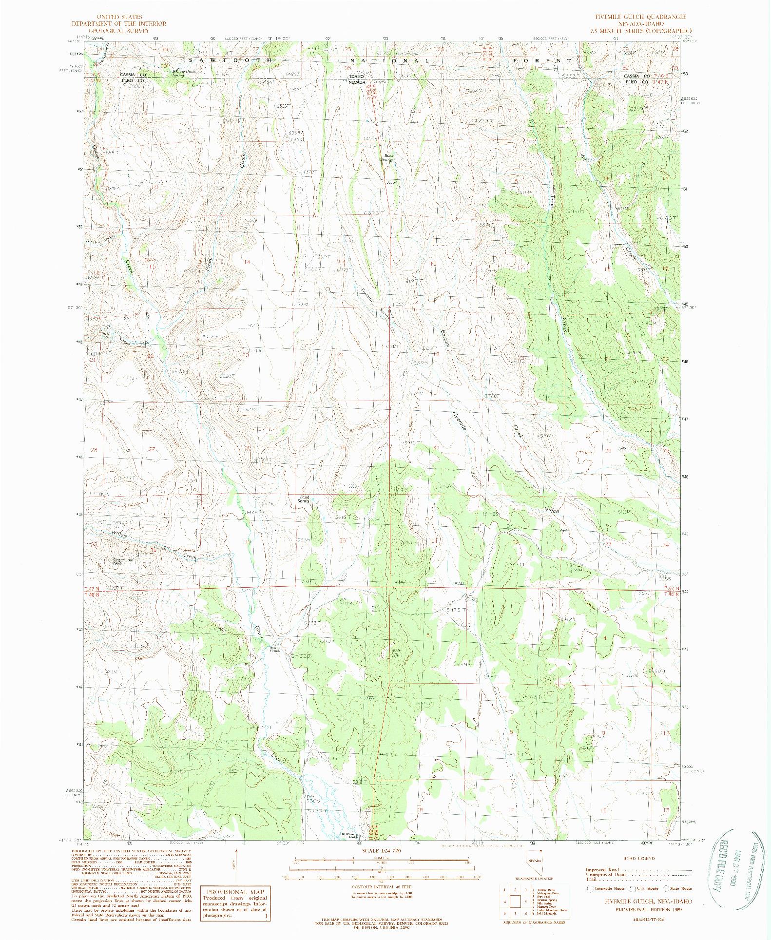 USGS 1:24000-SCALE QUADRANGLE FOR FIVEMILE GULCH, NV 1989