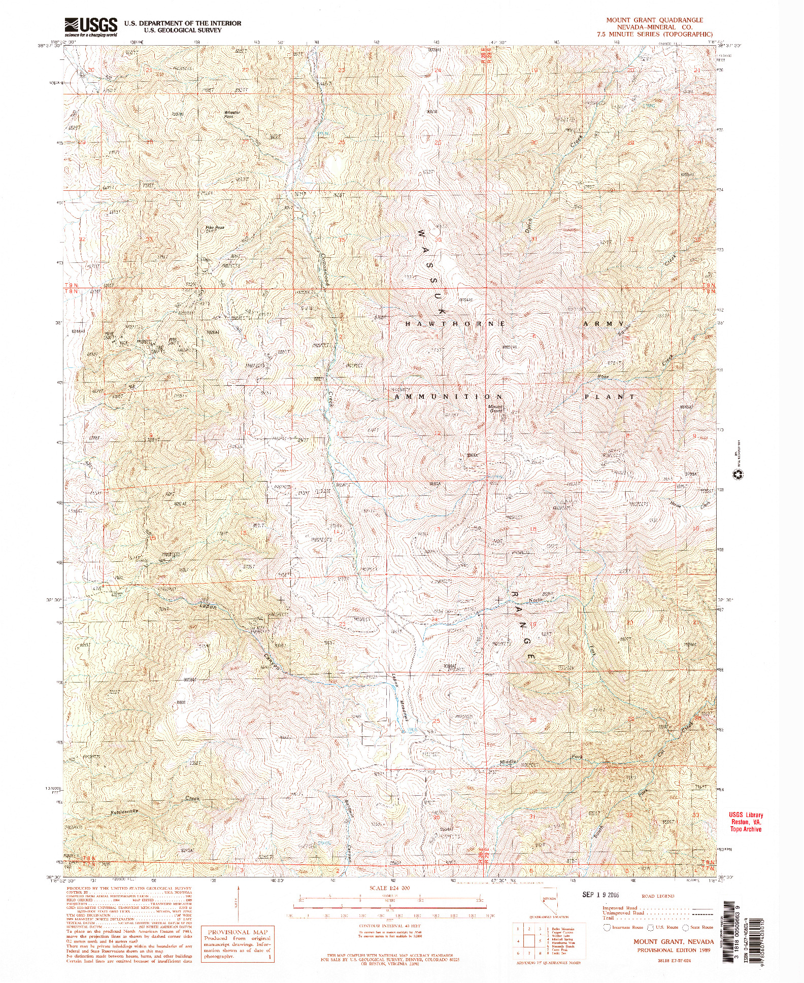 USGS 1:24000-SCALE QUADRANGLE FOR MOUNT GRANT, NV 1989