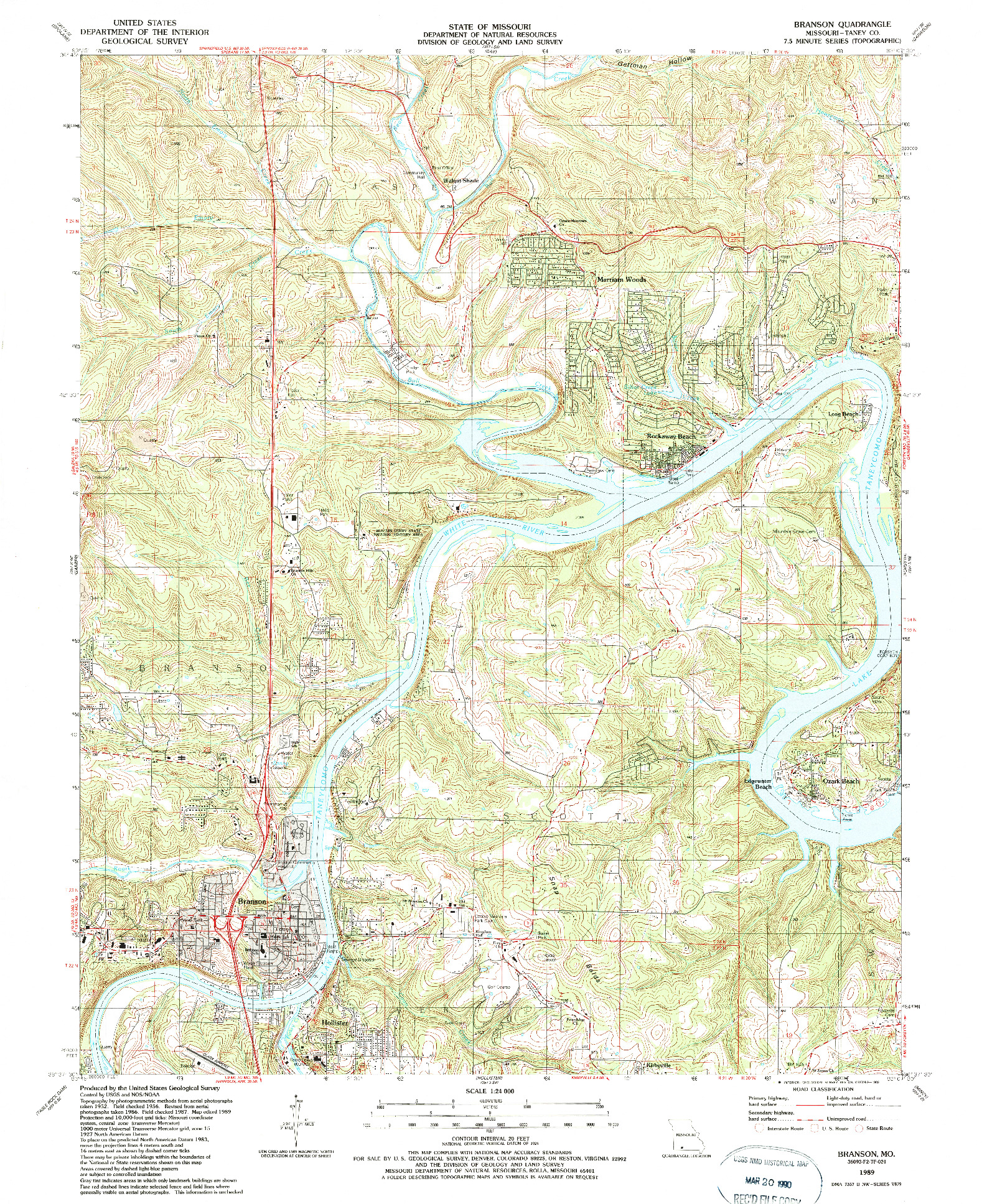 USGS 1:24000-SCALE QUADRANGLE FOR BRANSON, MO 1989