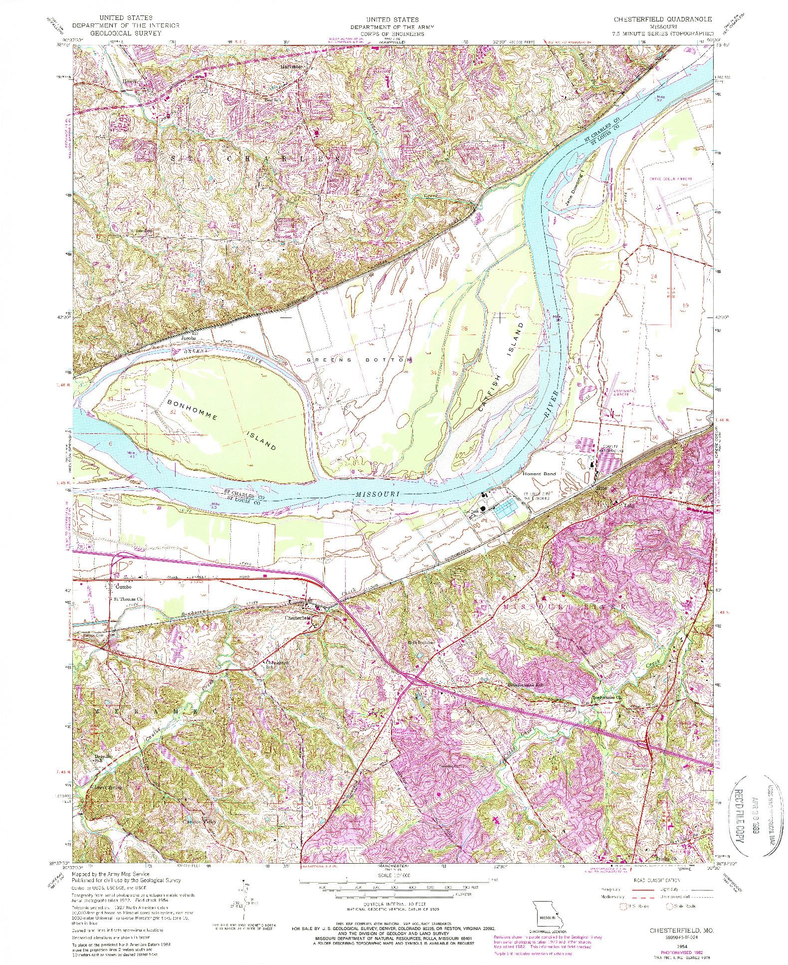 USGS 1:24000-SCALE QUADRANGLE FOR CHESTERFIELD, MO 1954
