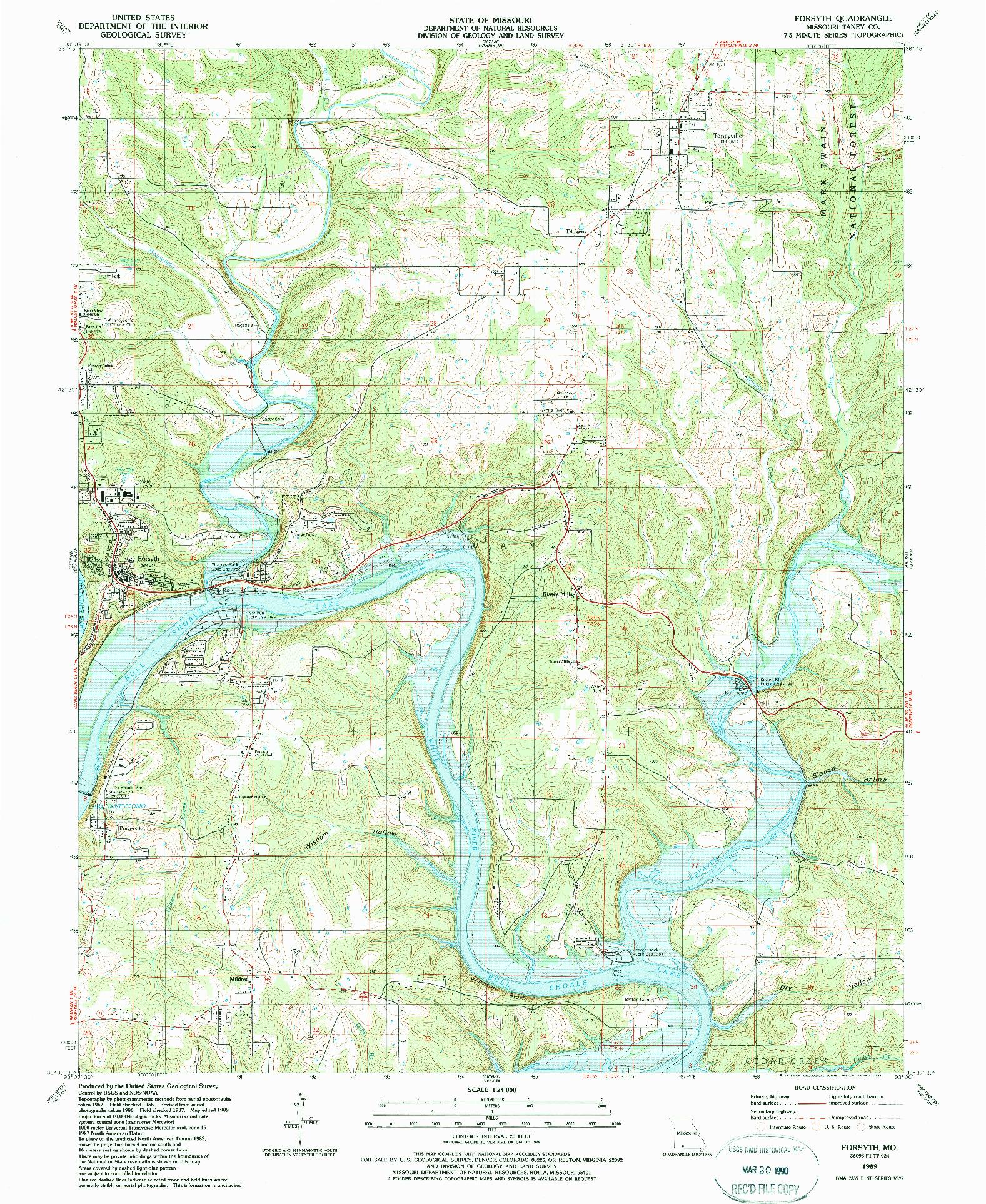USGS 1:24000-SCALE QUADRANGLE FOR FORSYTH, MO 1989