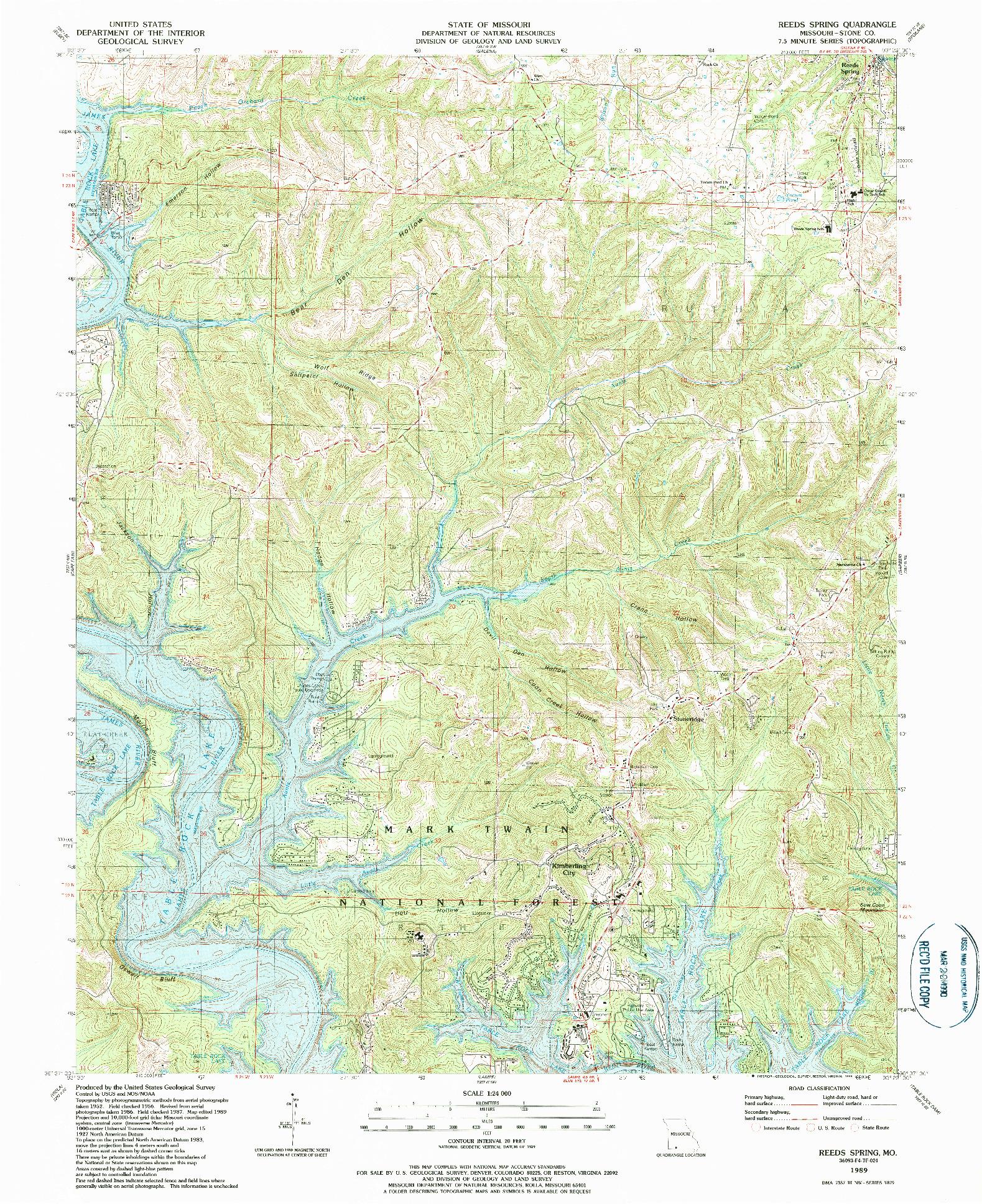 USGS 1:24000-SCALE QUADRANGLE FOR REEDS SPRING, MO 1989