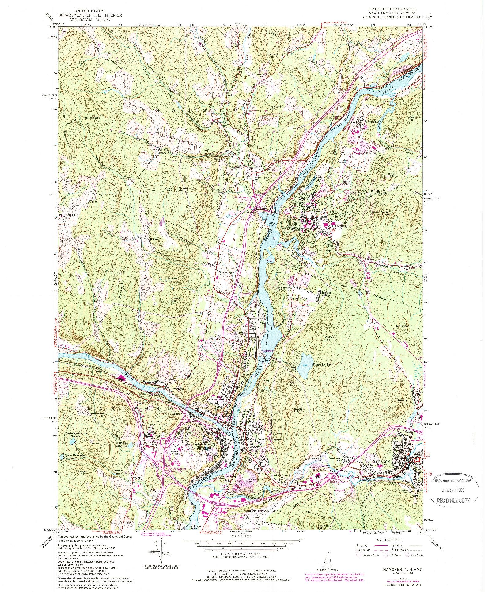 USGS 1:24000-SCALE QUADRANGLE FOR HANOVER, NH 1959
