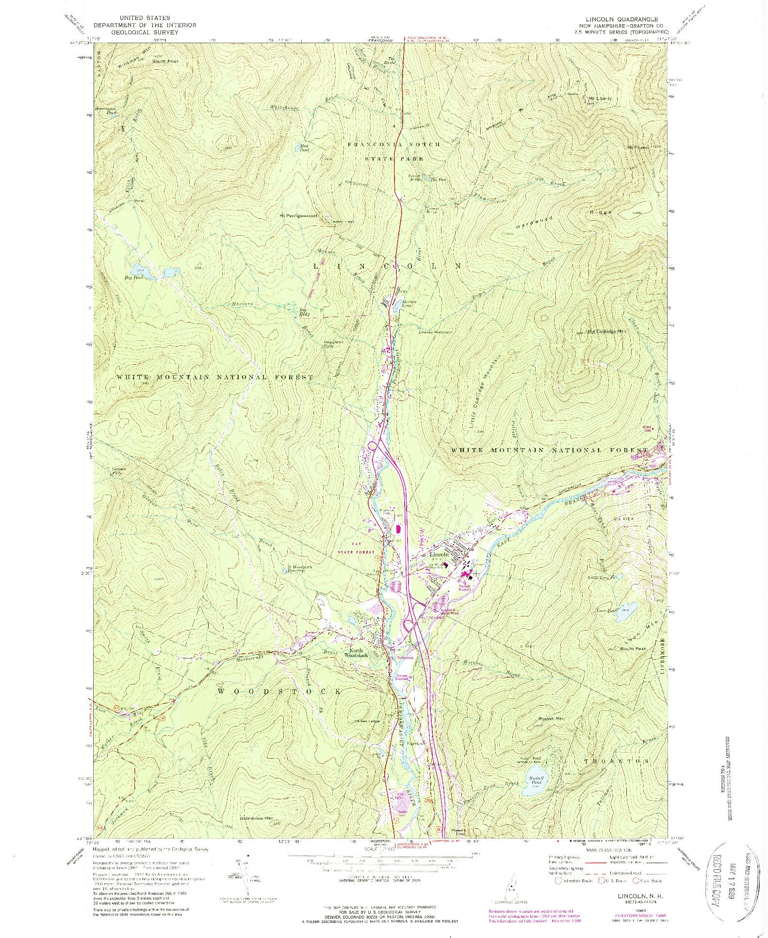 USGS 1:24000-SCALE QUADRANGLE FOR LINCOLN, NH 1967