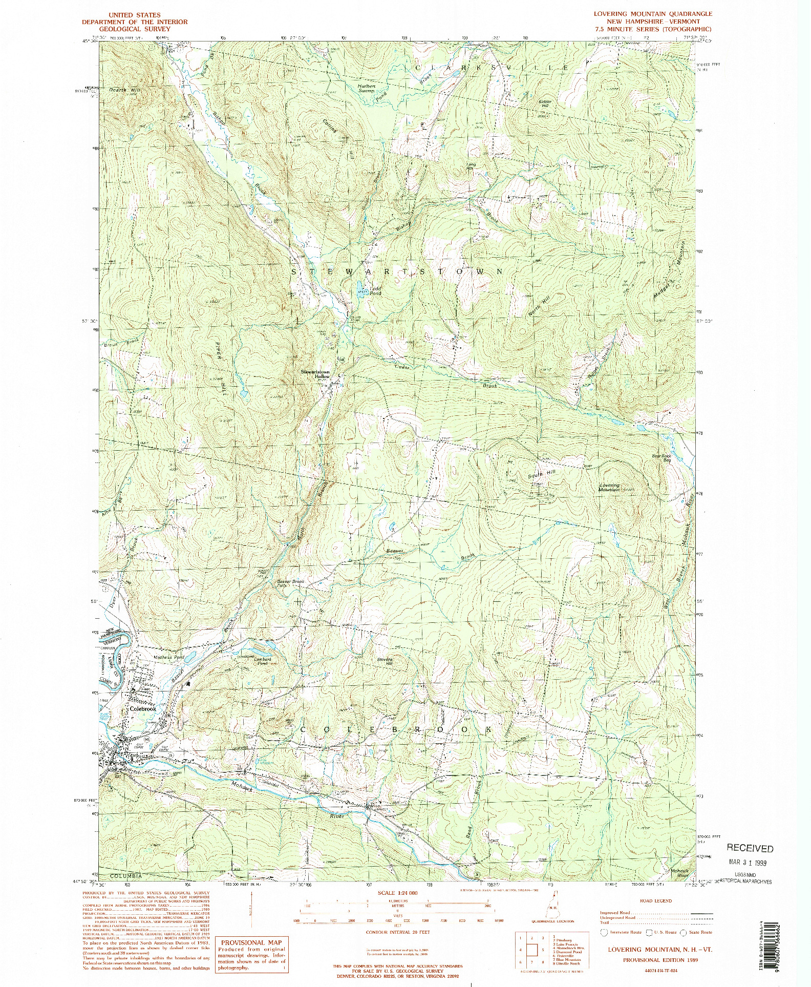 USGS 1:24000-SCALE QUADRANGLE FOR LOVERING MOUNTAIN, NH 1989
