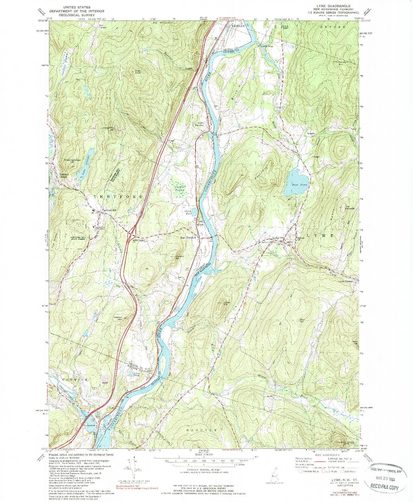 USGS 1:24000-SCALE QUADRANGLE FOR LYME, NH 1981